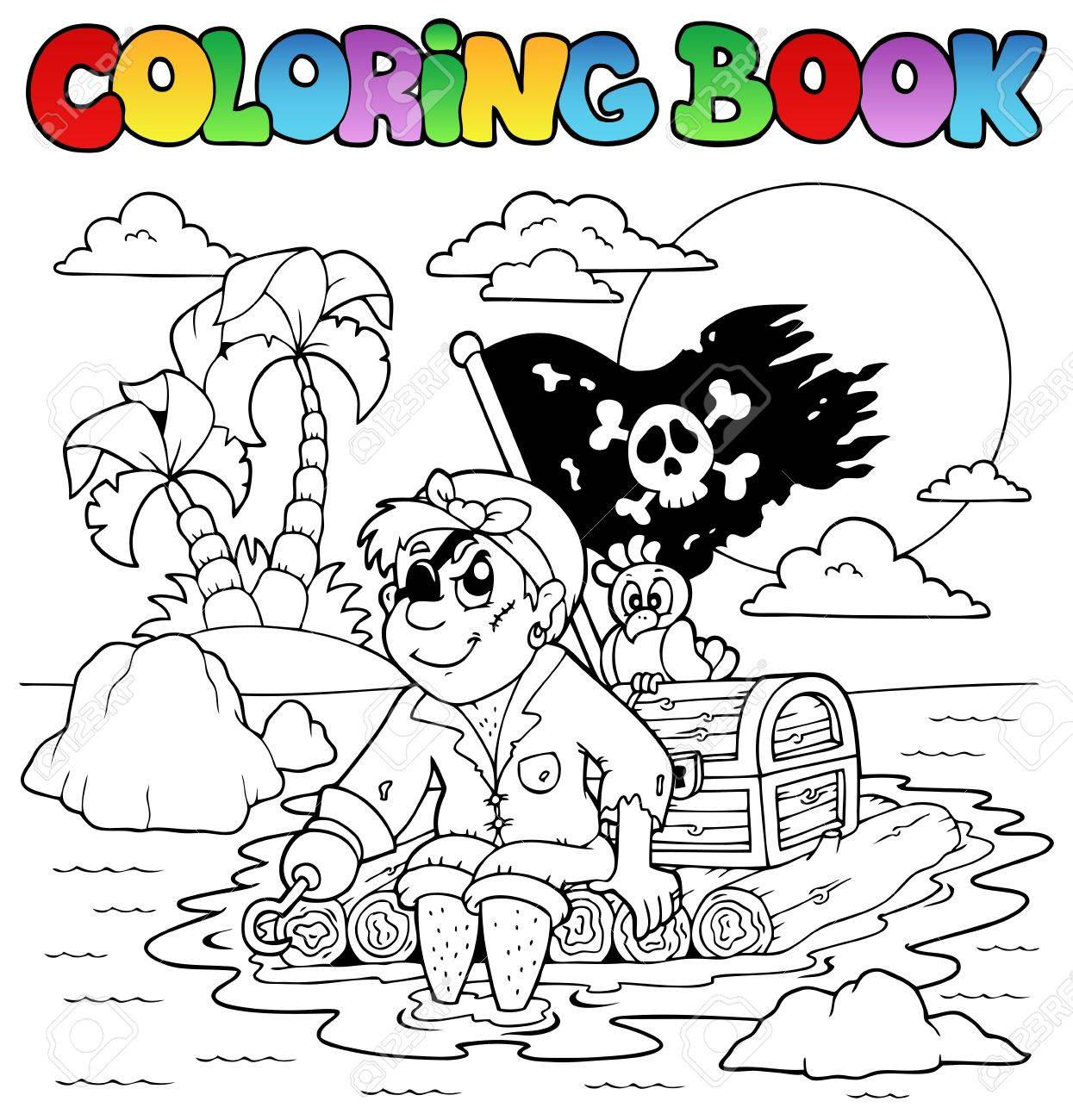Coloring book with pirate topic 2 - vector illustration Stock Vector - 13665309