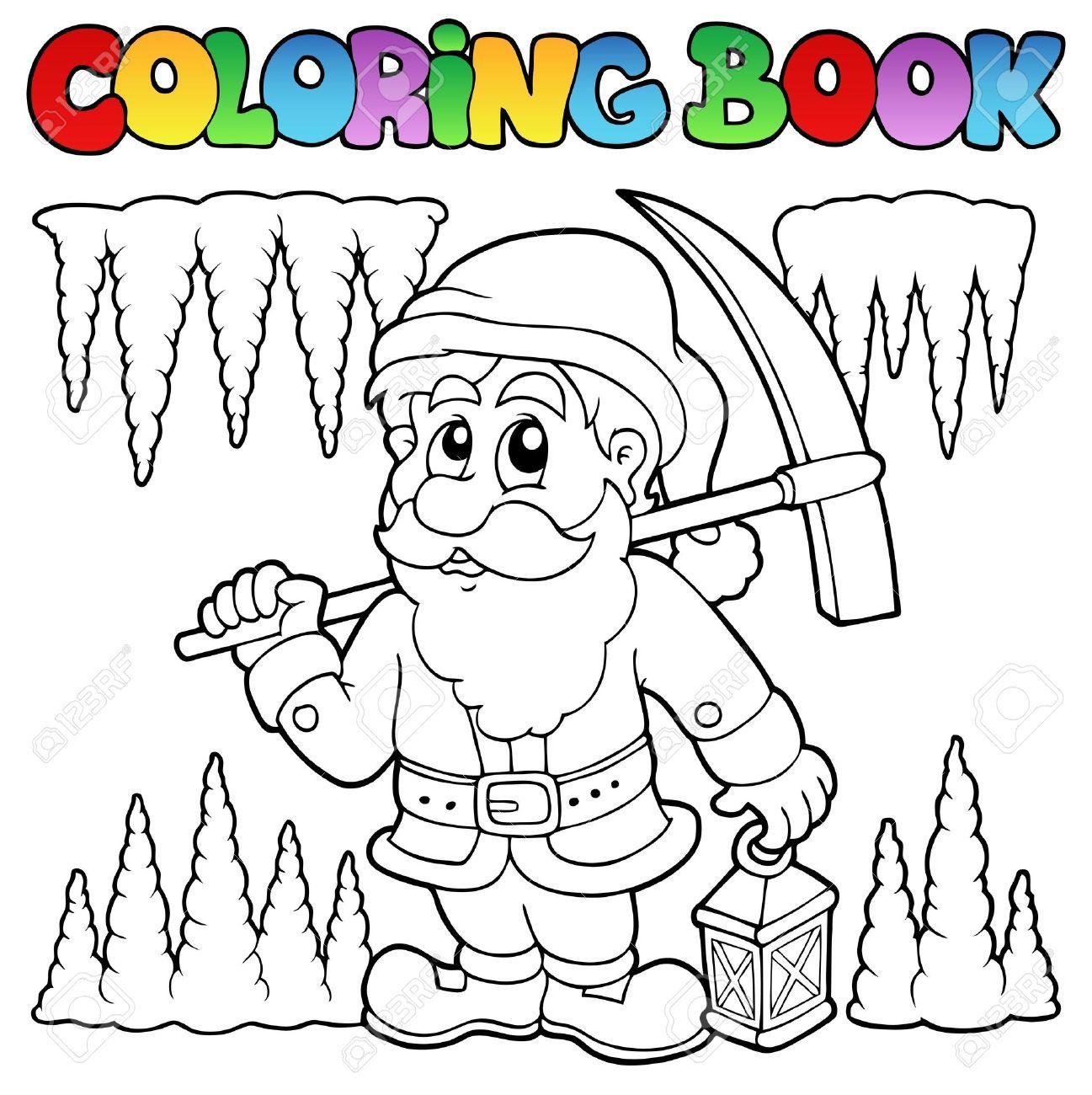 Coloriage Livre De Bandes Dessinées Nain Mineur Clip Art Libres De ...
