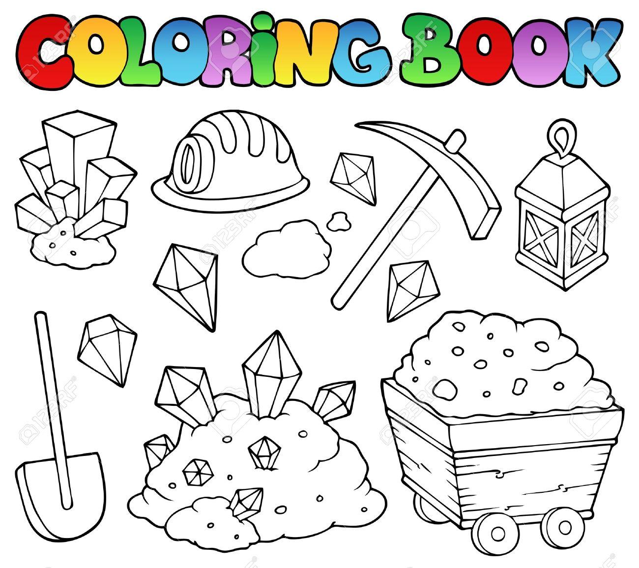 Colorear Colección De Libros De Minería 1 Ilustración Vectorial