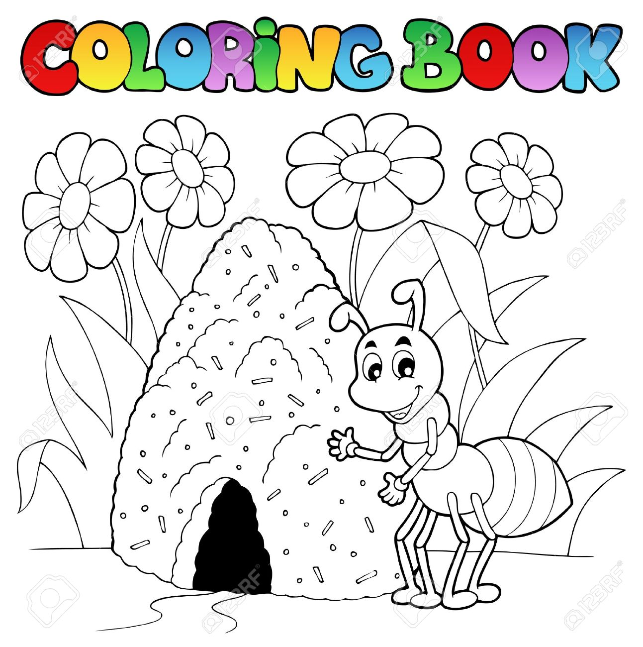 Coloring Book Ant Near Anthill Stock Photo Picture And Royalty
