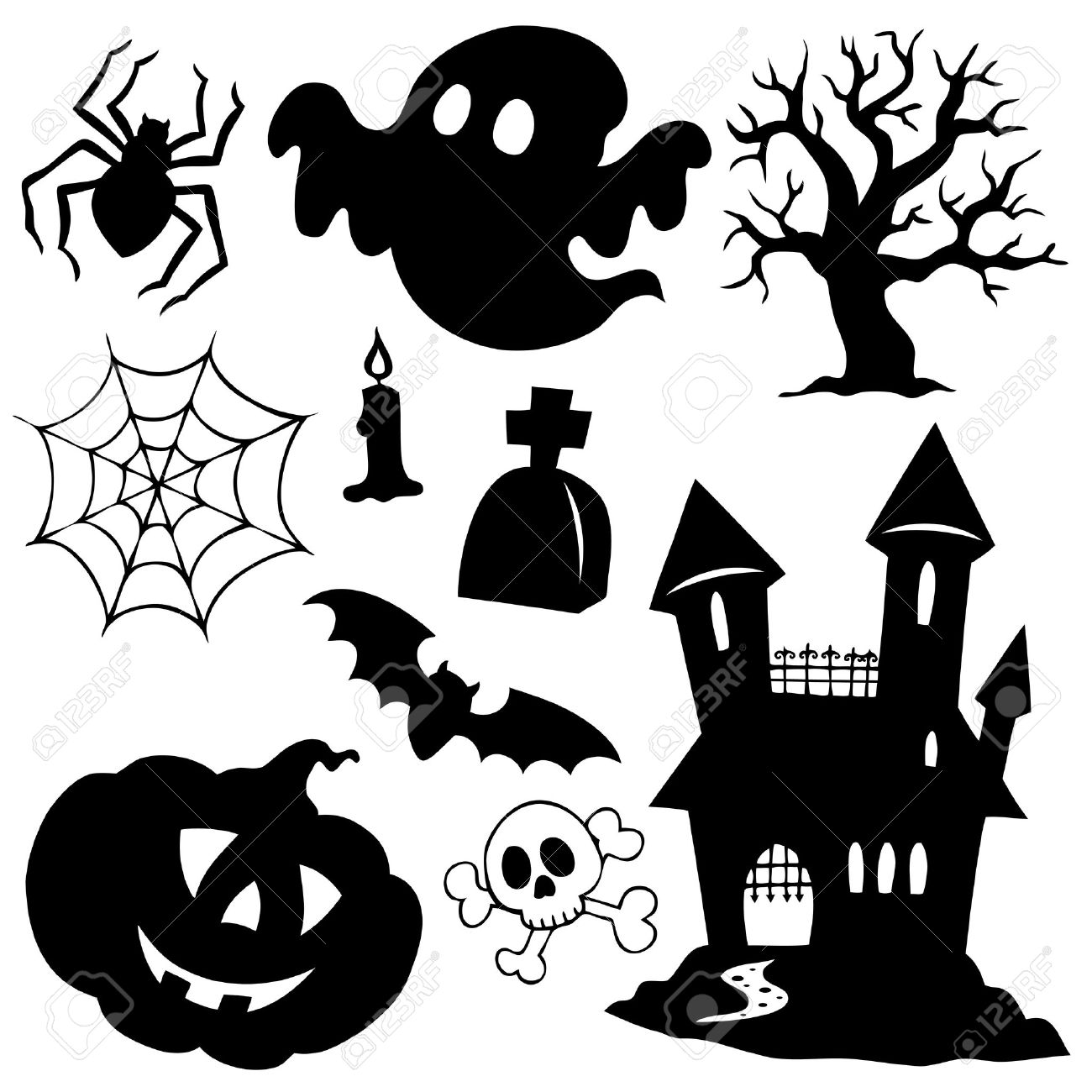Halloween Silhouettes Collection 1 Stock Photo, Picture And ...
