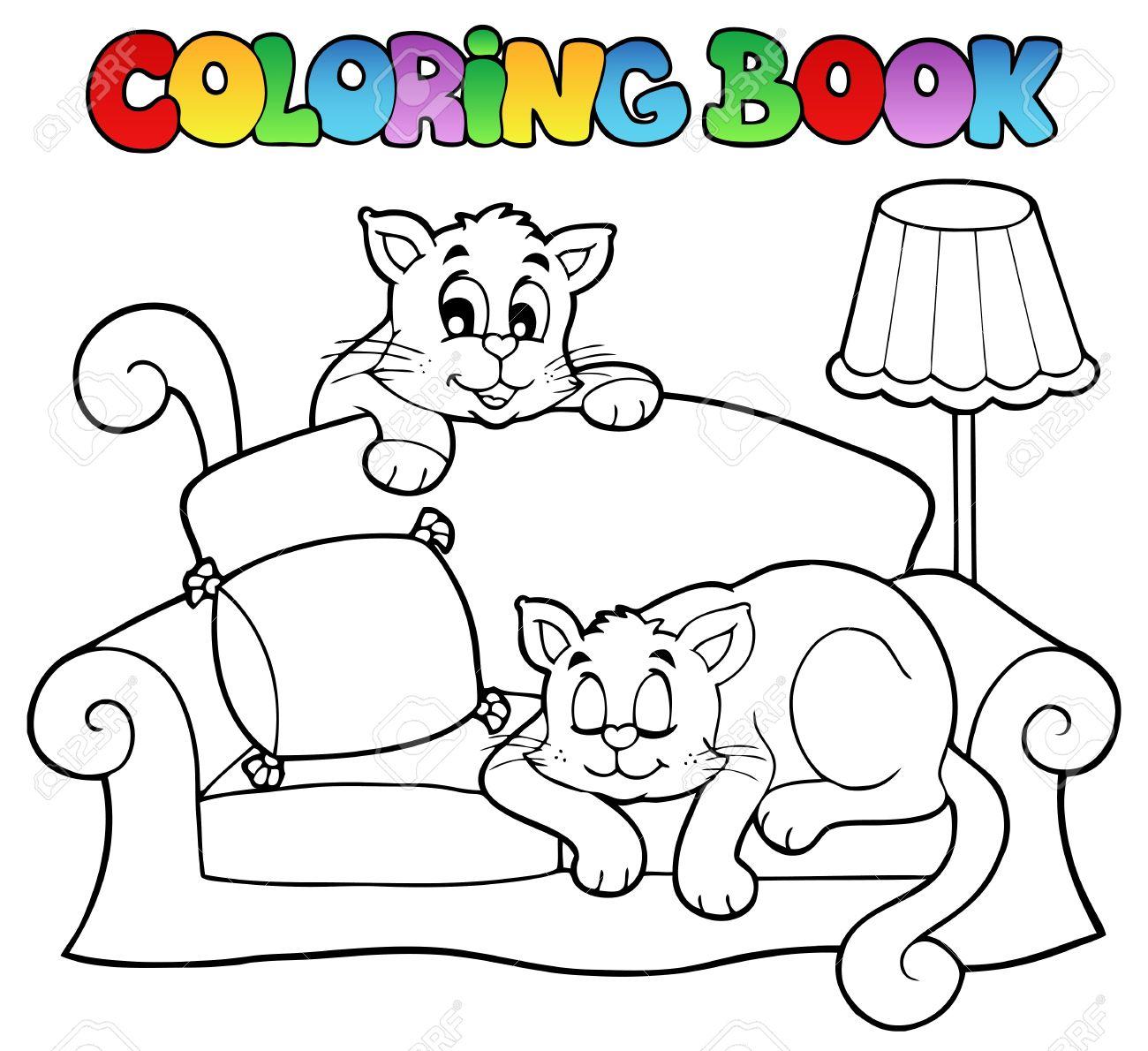 Dibujos Para Colorear Sofá-libro Con Dos Ilustraciones Gatos ...