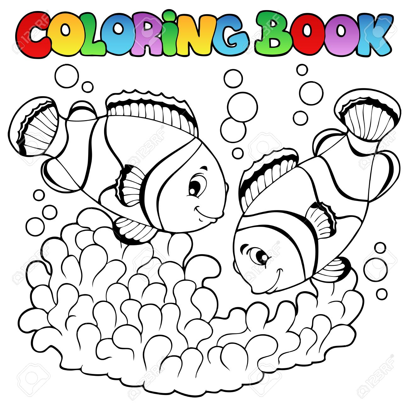 Coloring book two cute clown fishes  illustration Stock Vector - 14603729