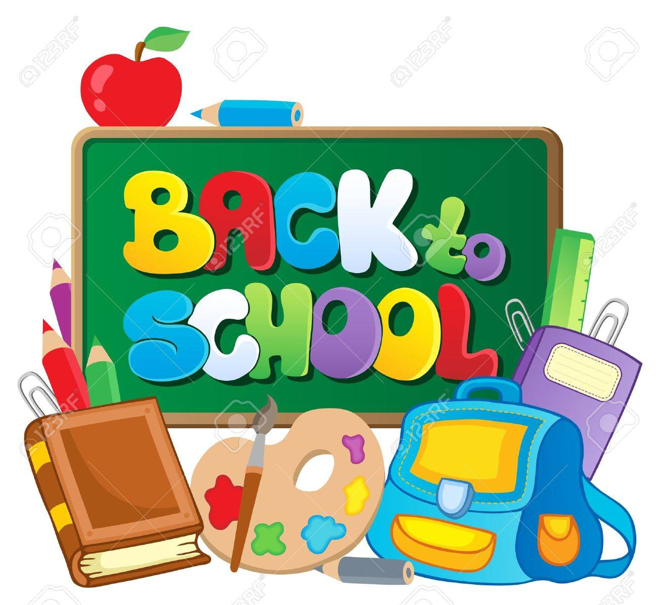 back to school thematic image 2 vector illustration royalty free rh 123rf com clipart images back to school back to school clipart black and white