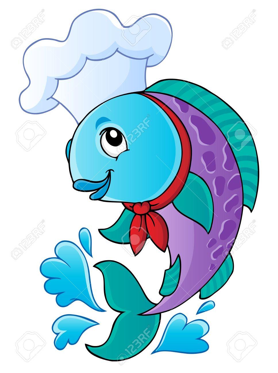 漫画の魚シェフ - ベクトル イラスト ロイヤリティフリークリップ