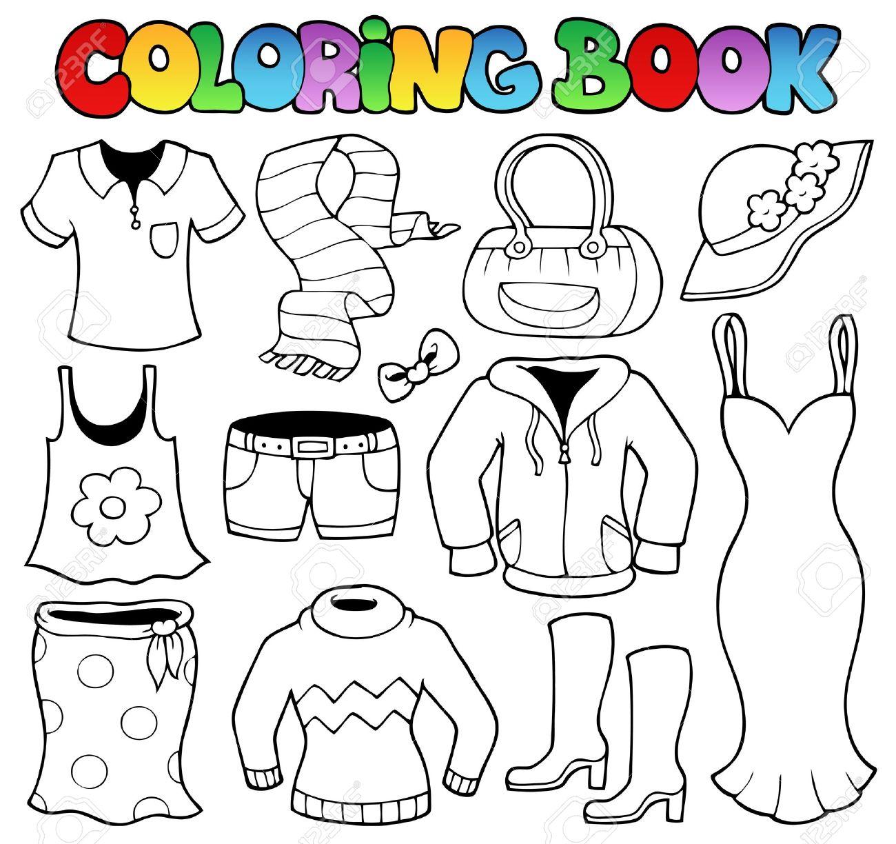 Libro Para Colorear Ropa Tema 1 - Ilustración Vectorial ...
