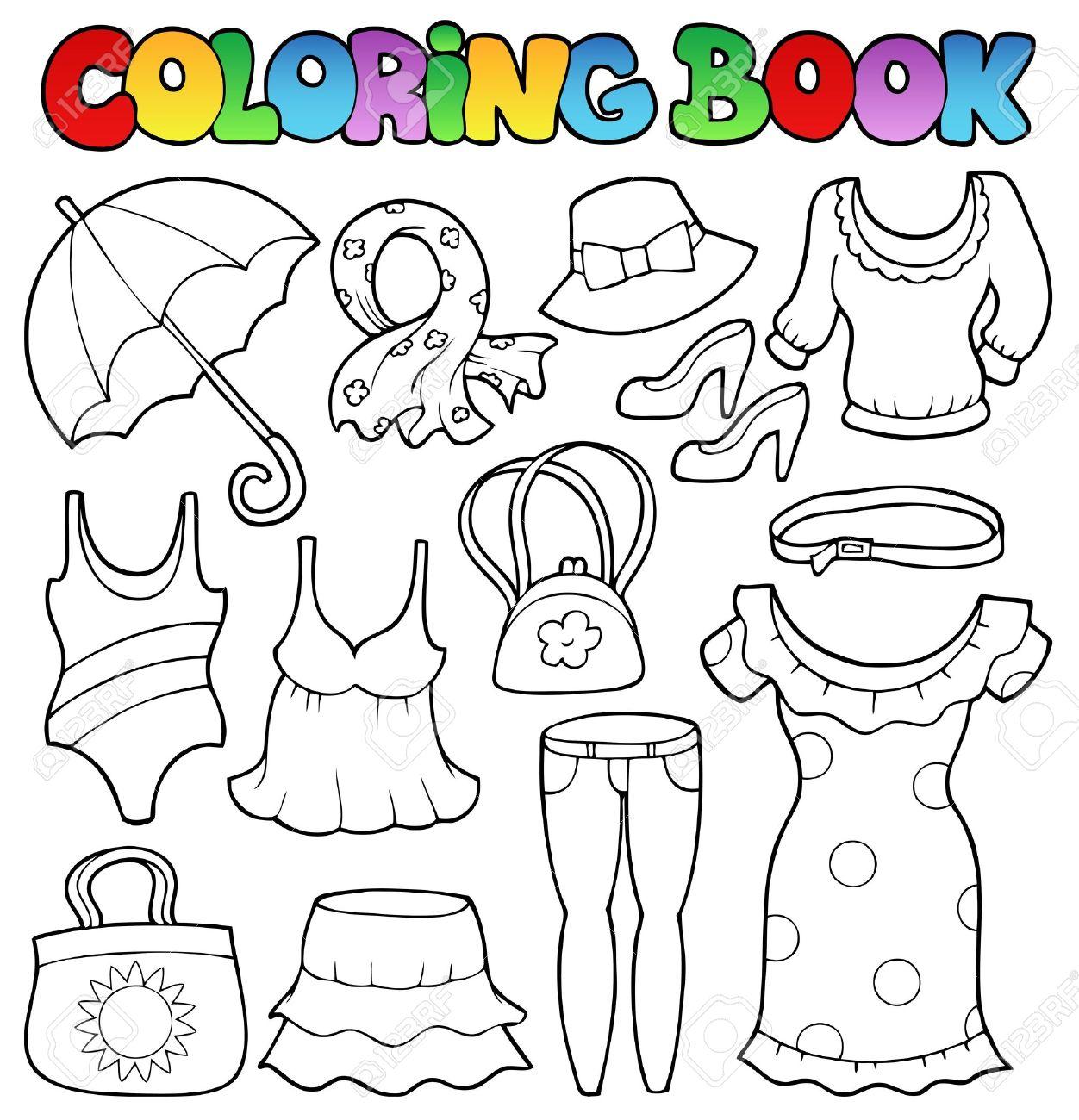 Libro Para Colorear Ropa Tema 2 - Ilustración Vectorial ...