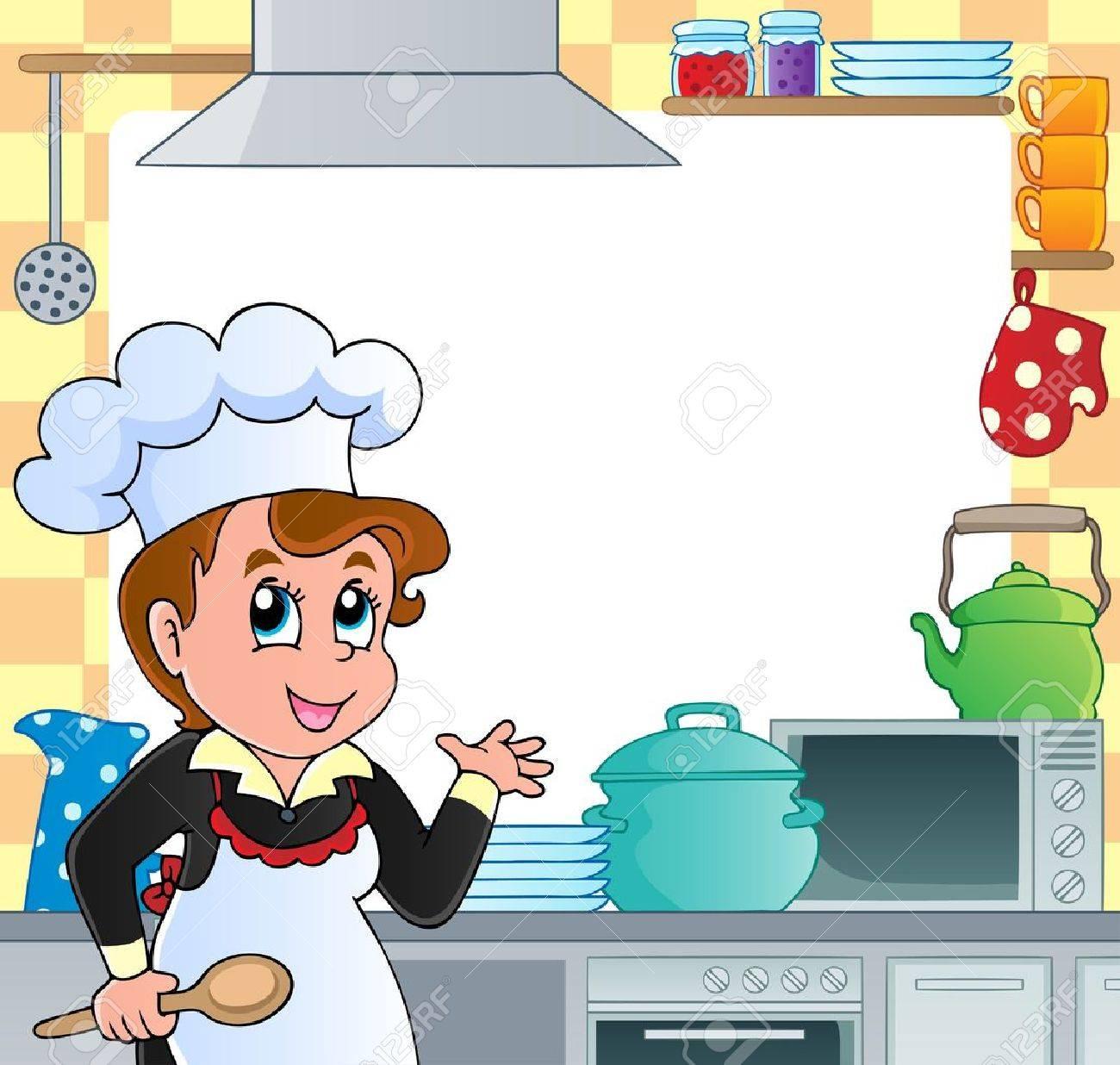 Cocina Marco Temático 2 - Ilustración Vectorial Ilustraciones ...