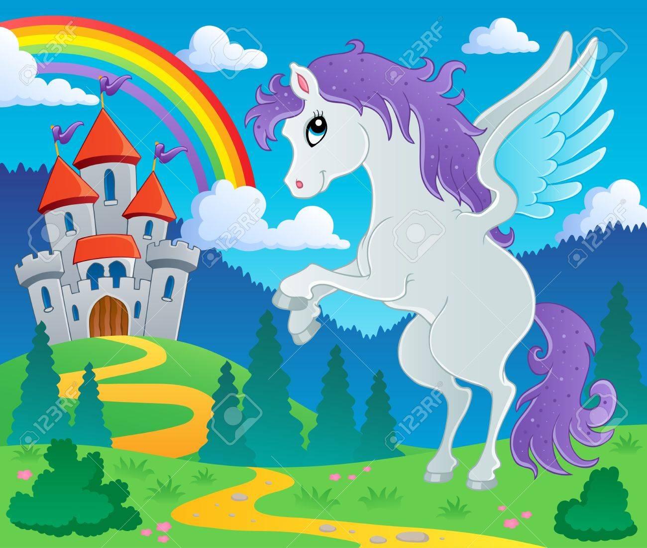 Fairy tale pegasus theme image 2 - vector illustration Stock Vector - 15045988