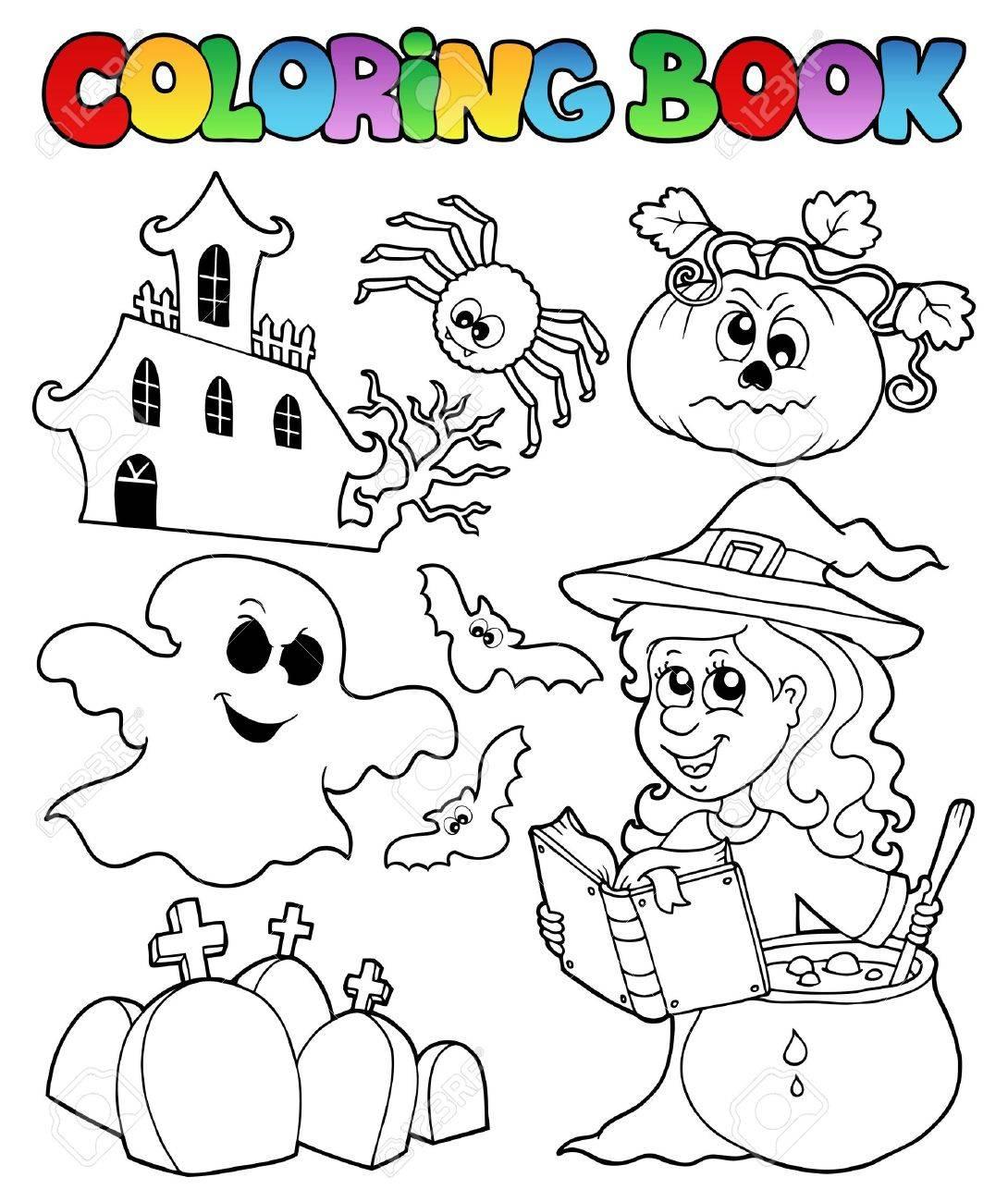 Coloring Book Halloween Stock Vector