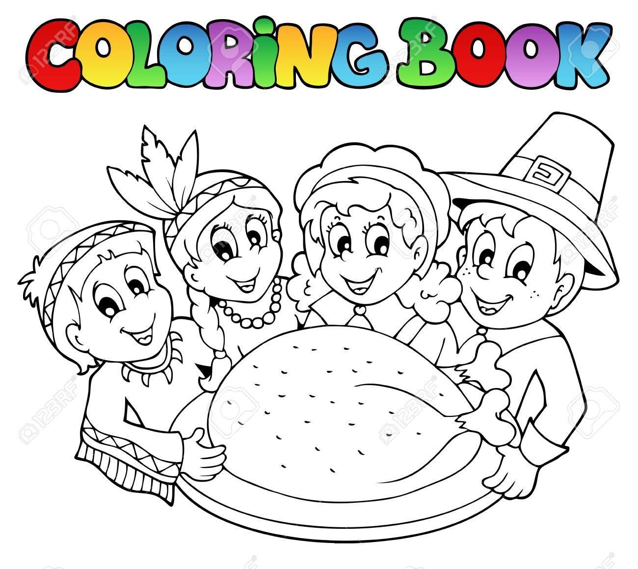Libro Para Colorear De Acción De Gracias Ilustraciones Vectoriales ...