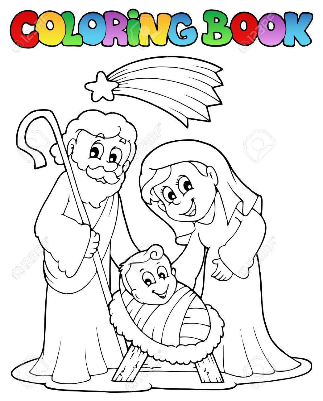Coloring Book Nativity Scene 1 Royalty Free Cliparts, Vectors, And ...