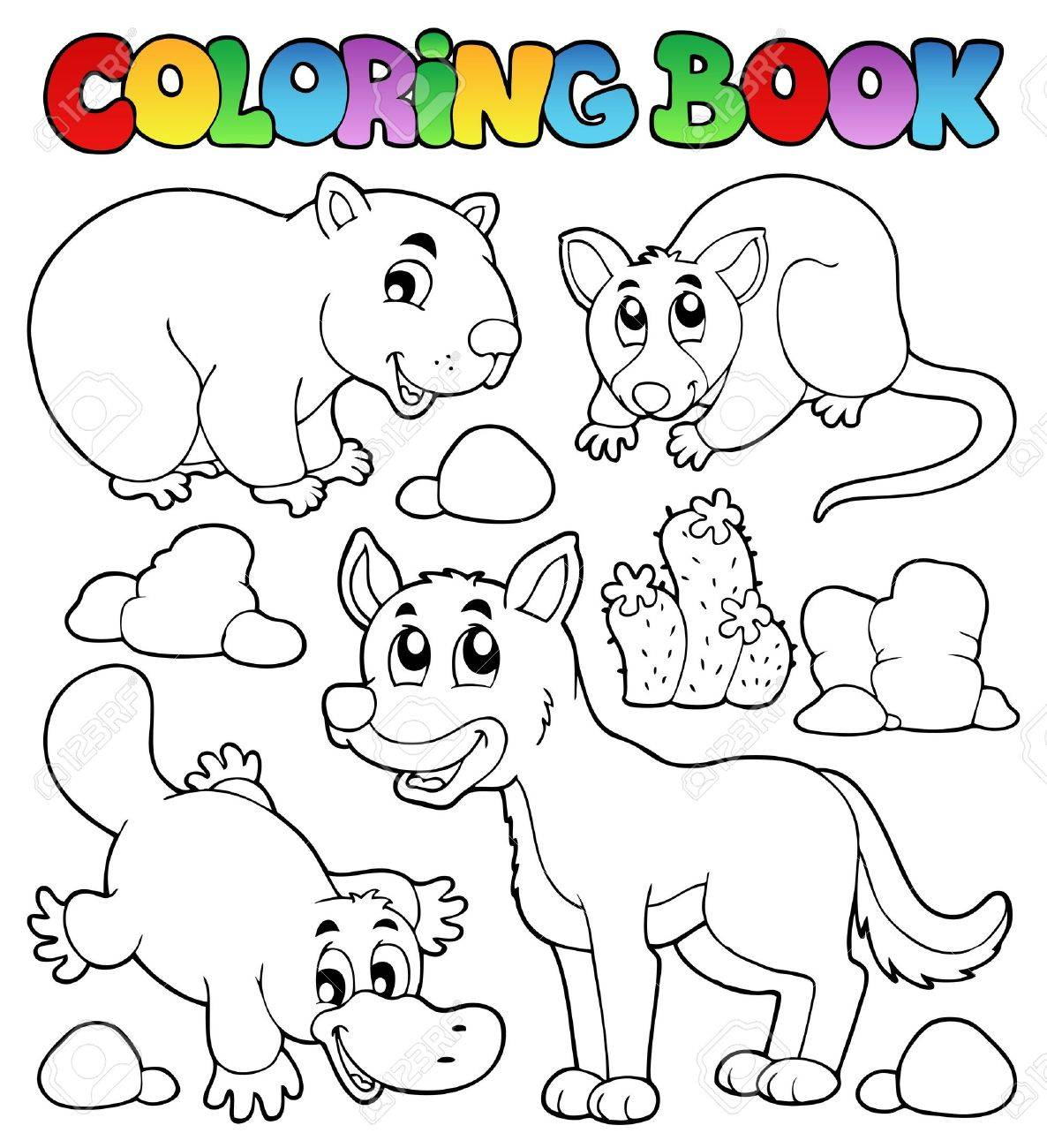 Coloring book Australian fauna 1 - vector illustration Stock Vector - 16503874