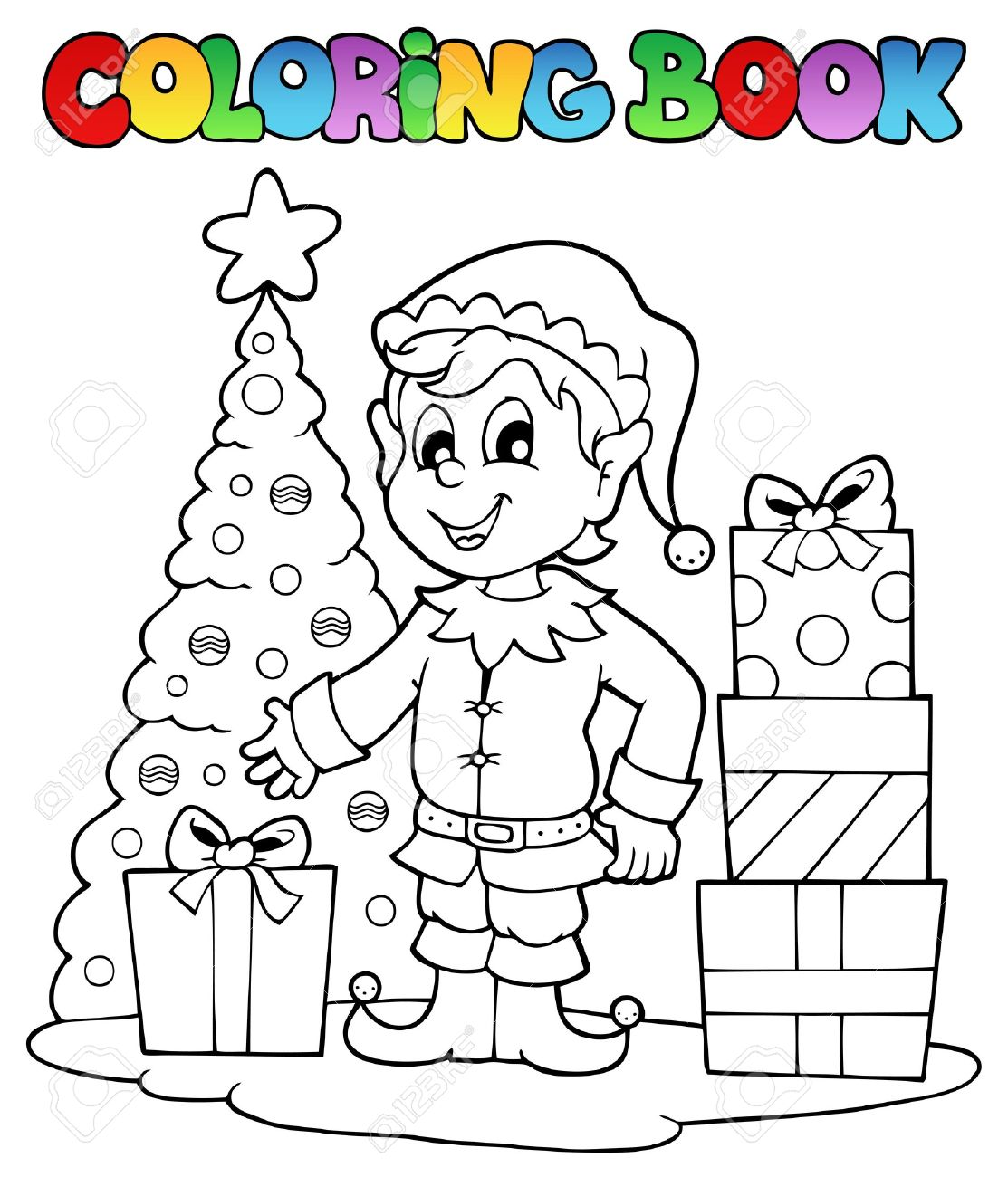 Coloring book pictures of elves - Coloring Book Christmas Elf Theme 1 Vector Illustration Stock Vector 16503895