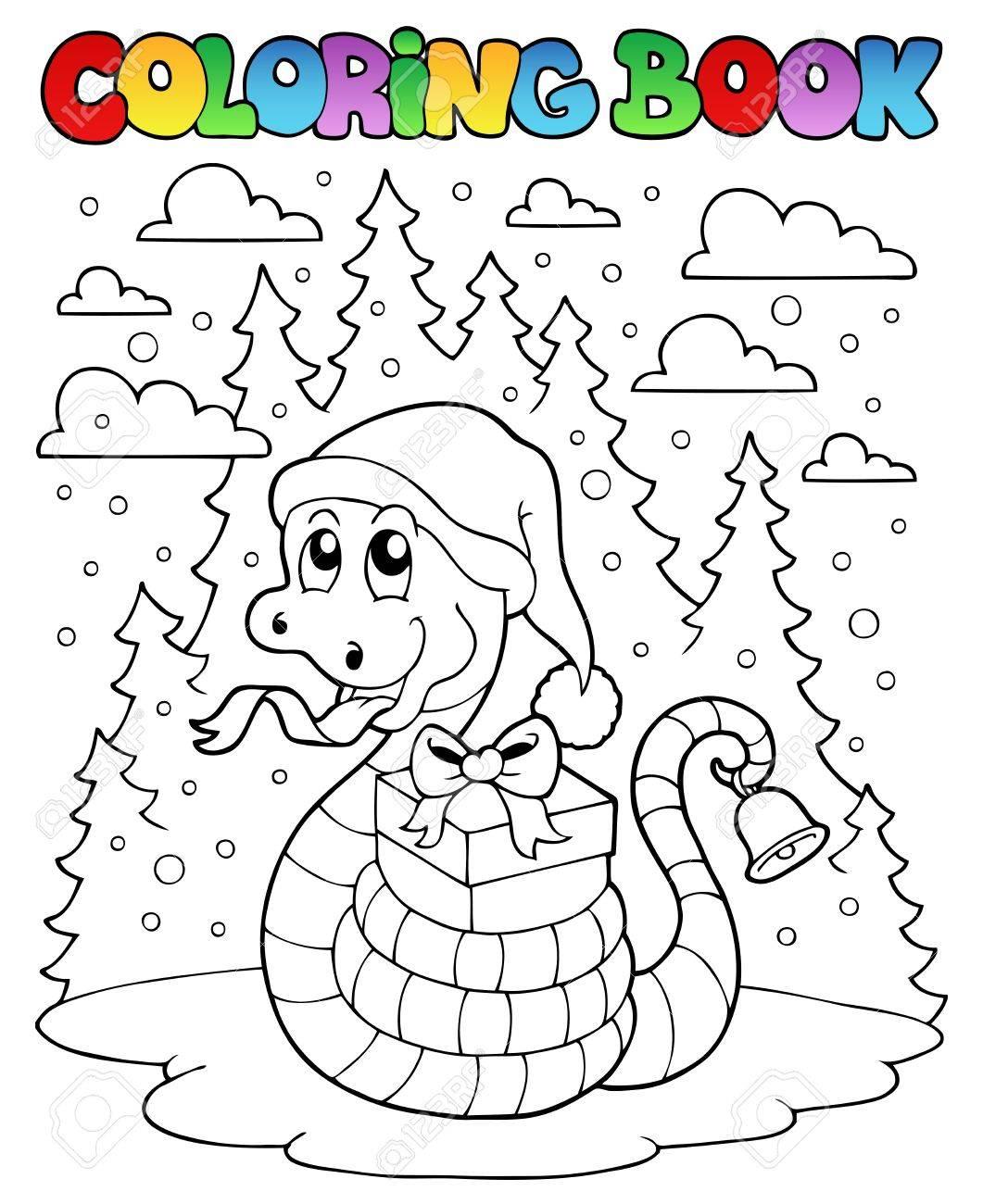 Libro Para Colorear De Navidad Serpiente 1 - Ilustración Vectorial ...