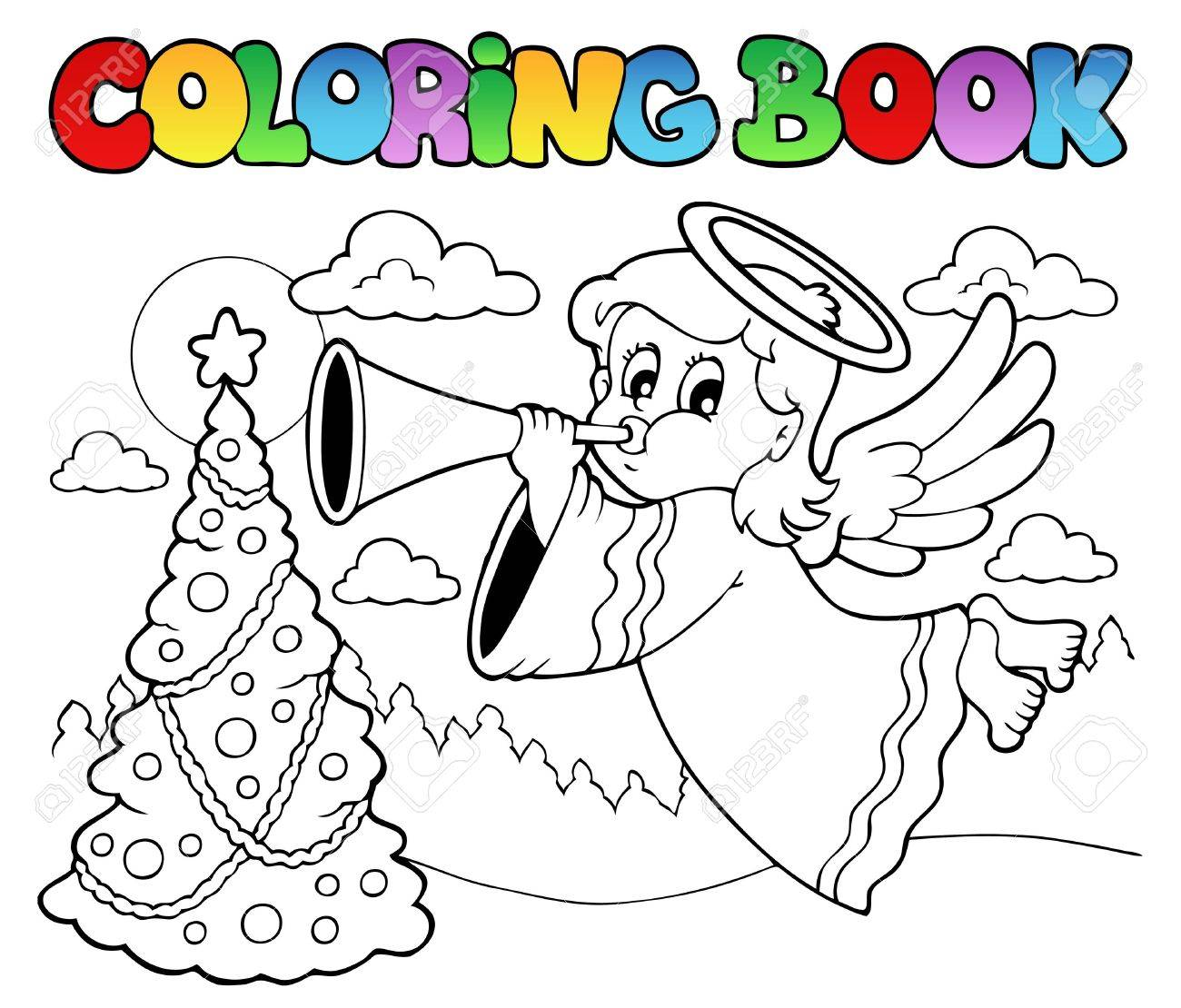 Coloring book image with angel 2 - vector illustration Stock Vector - 16503843