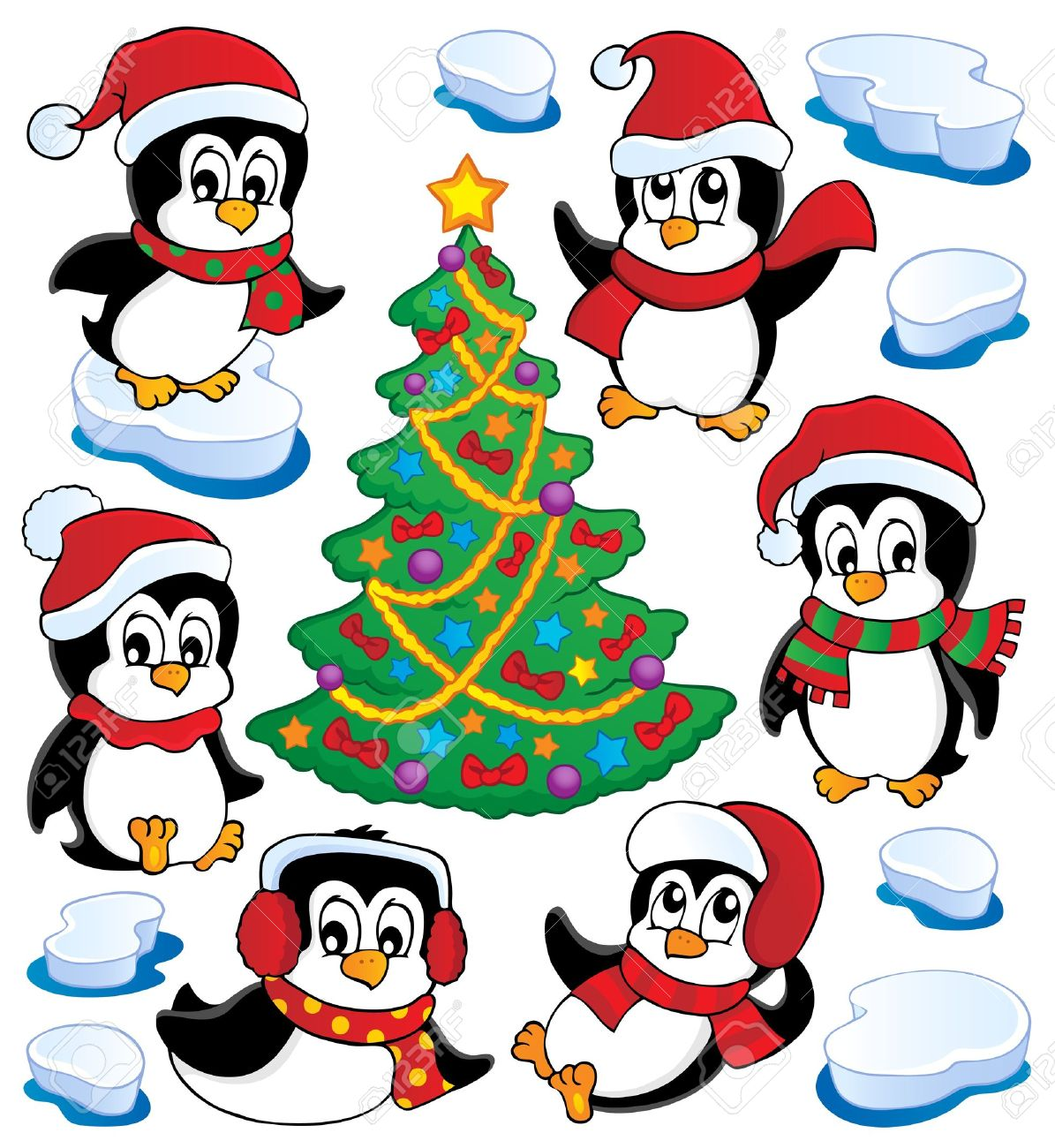 cute penguins collection 4 vector illustration royalty free