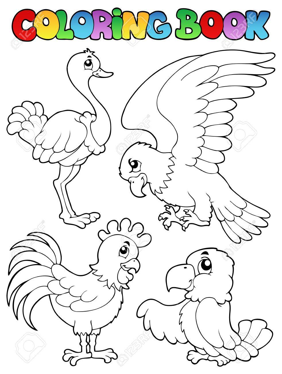 The zoology coloring book - Coloring Book Bird Image Illustration Stock Vector 16906777
