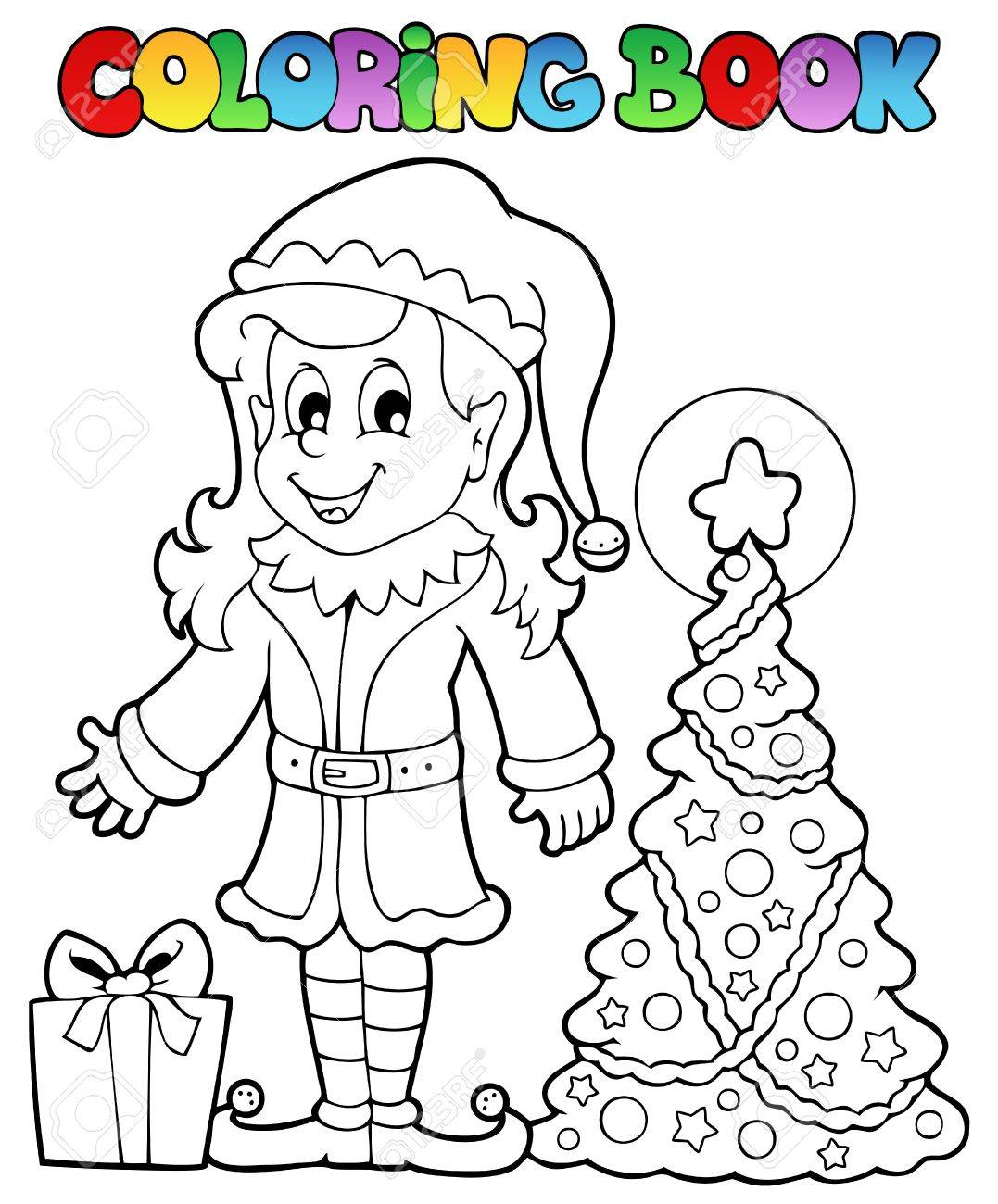 Coloring Book Christmas Elf Theme Illustration Royalty Free Cliparts ...