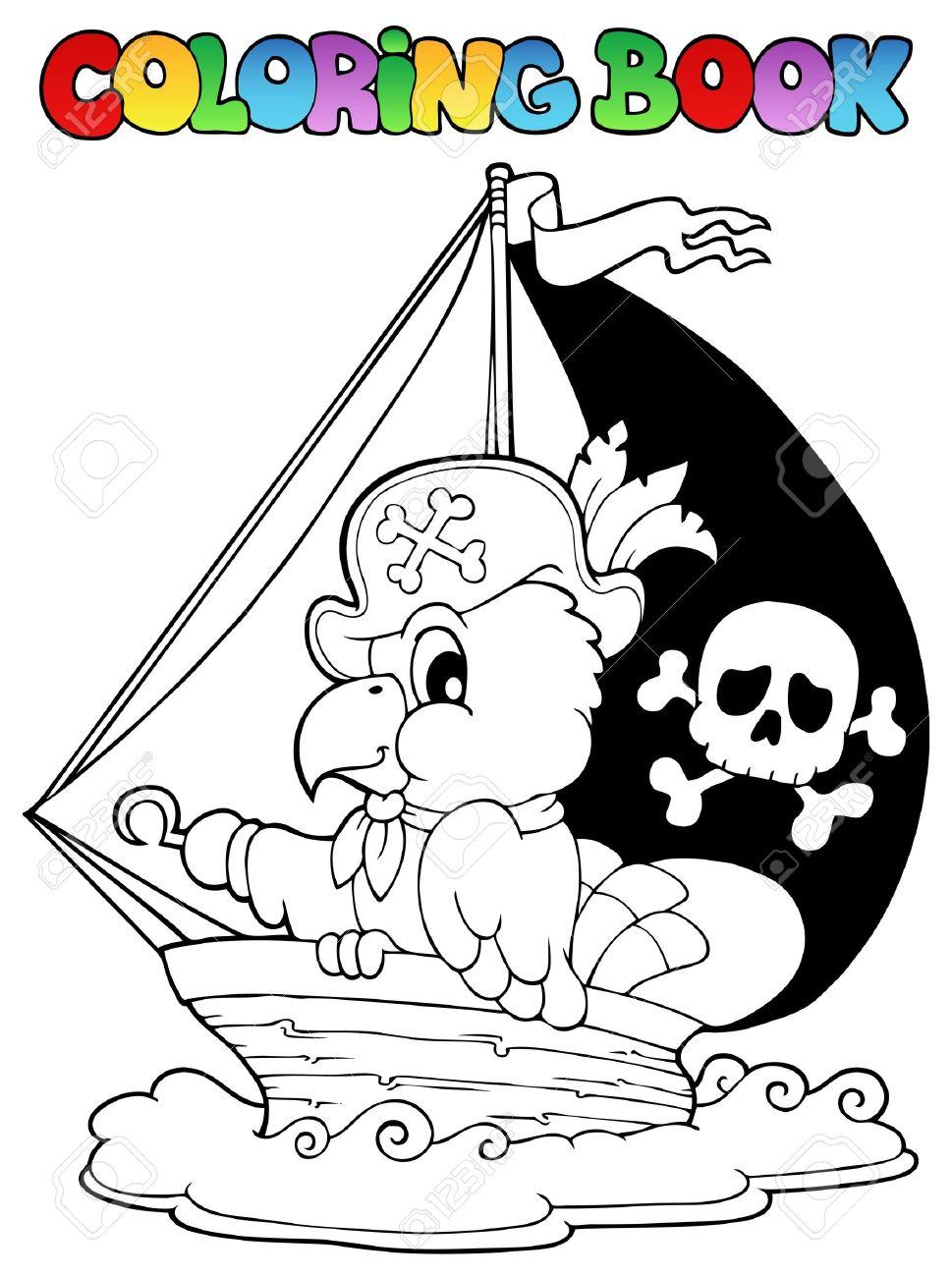 Libro Para Colorear Loro Pirata Ilustración Tema Ilustraciones ...