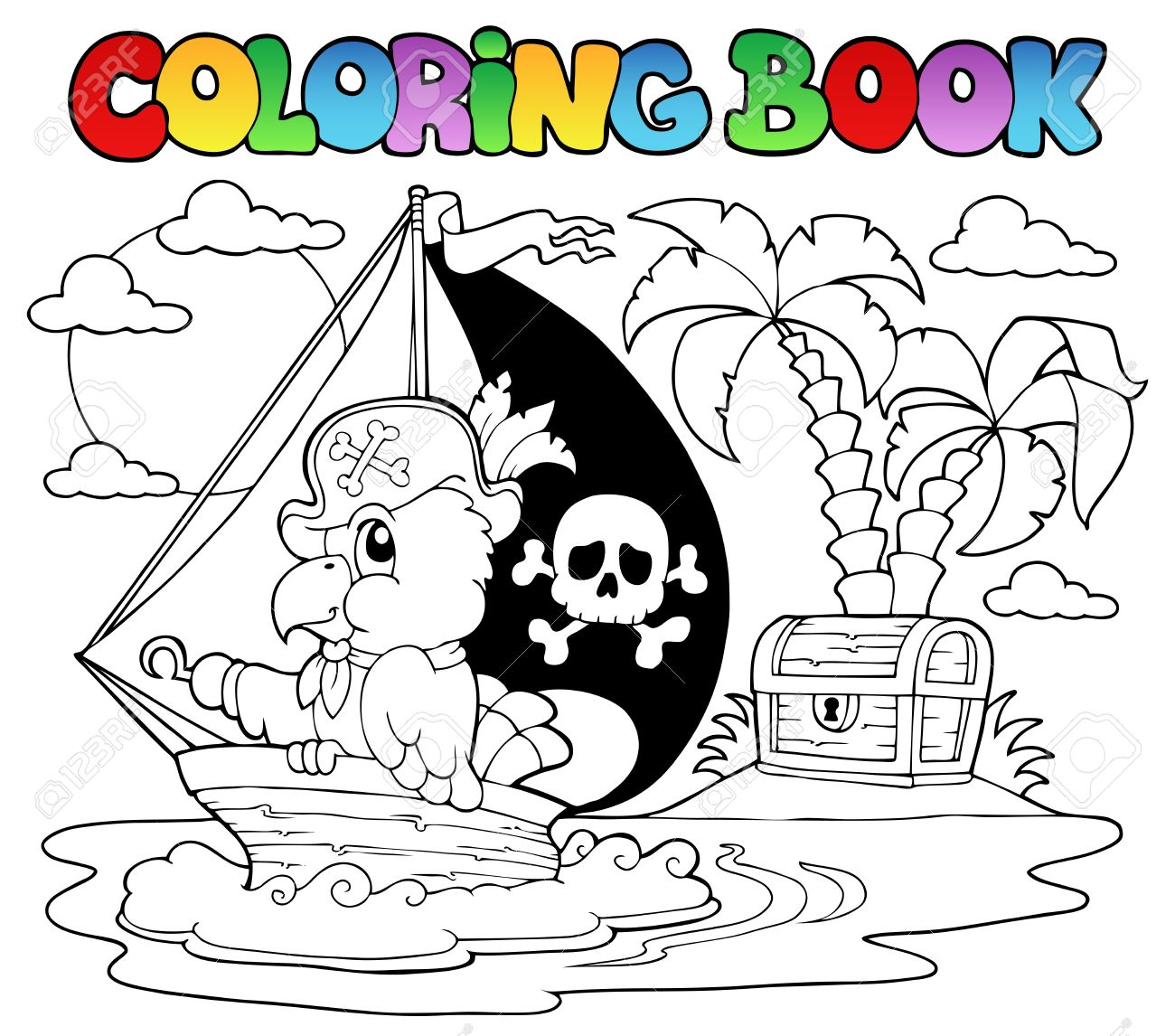 Coloring Book Pirate Parrot Theme Illustration Royalty Free ...