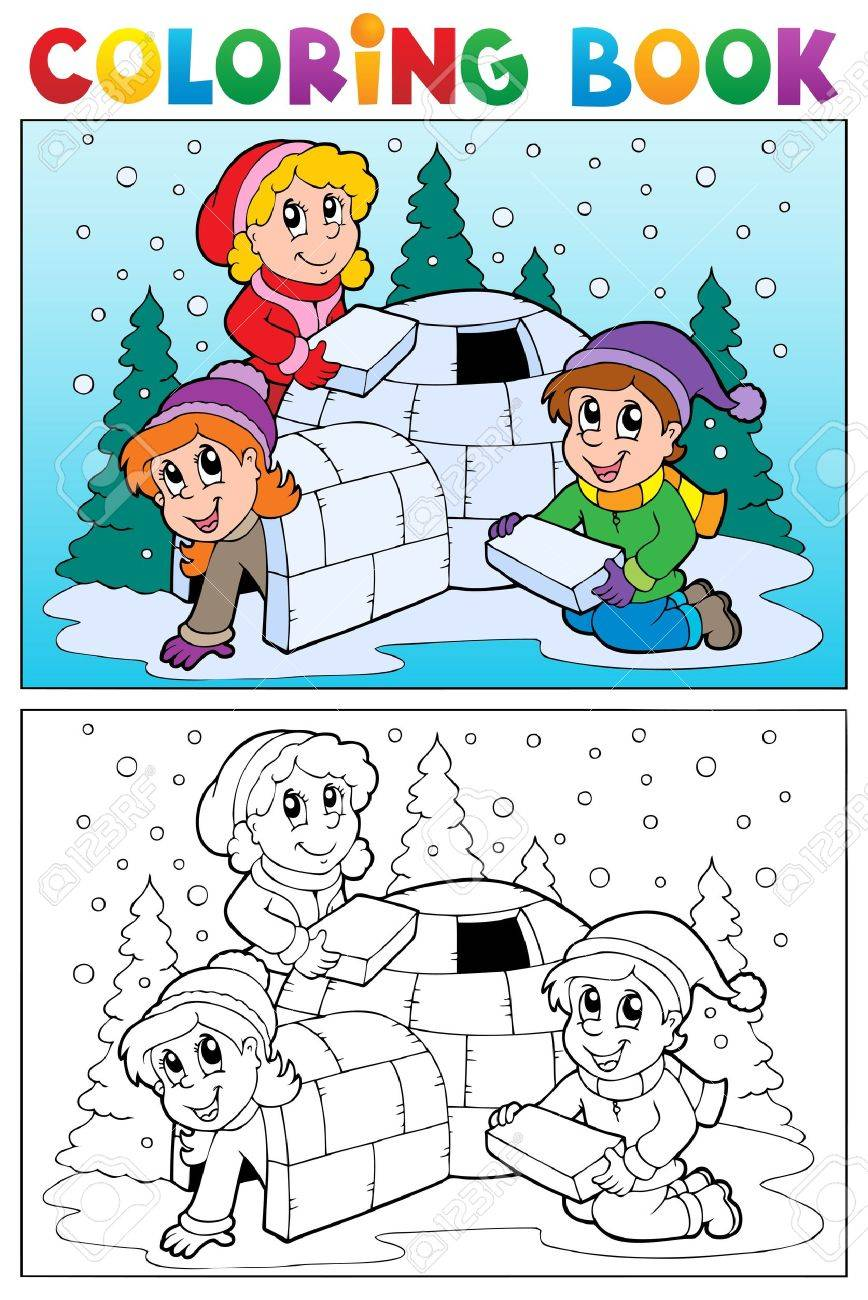 Coloring book winter topic illustration Stock Vector - 16906701