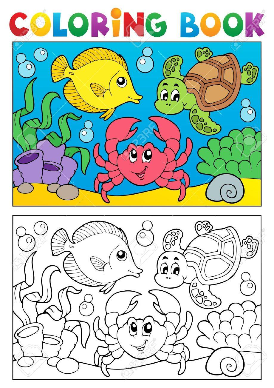 Coloring Book With Marine Animals Illustration Royalty Free Cliparts ...