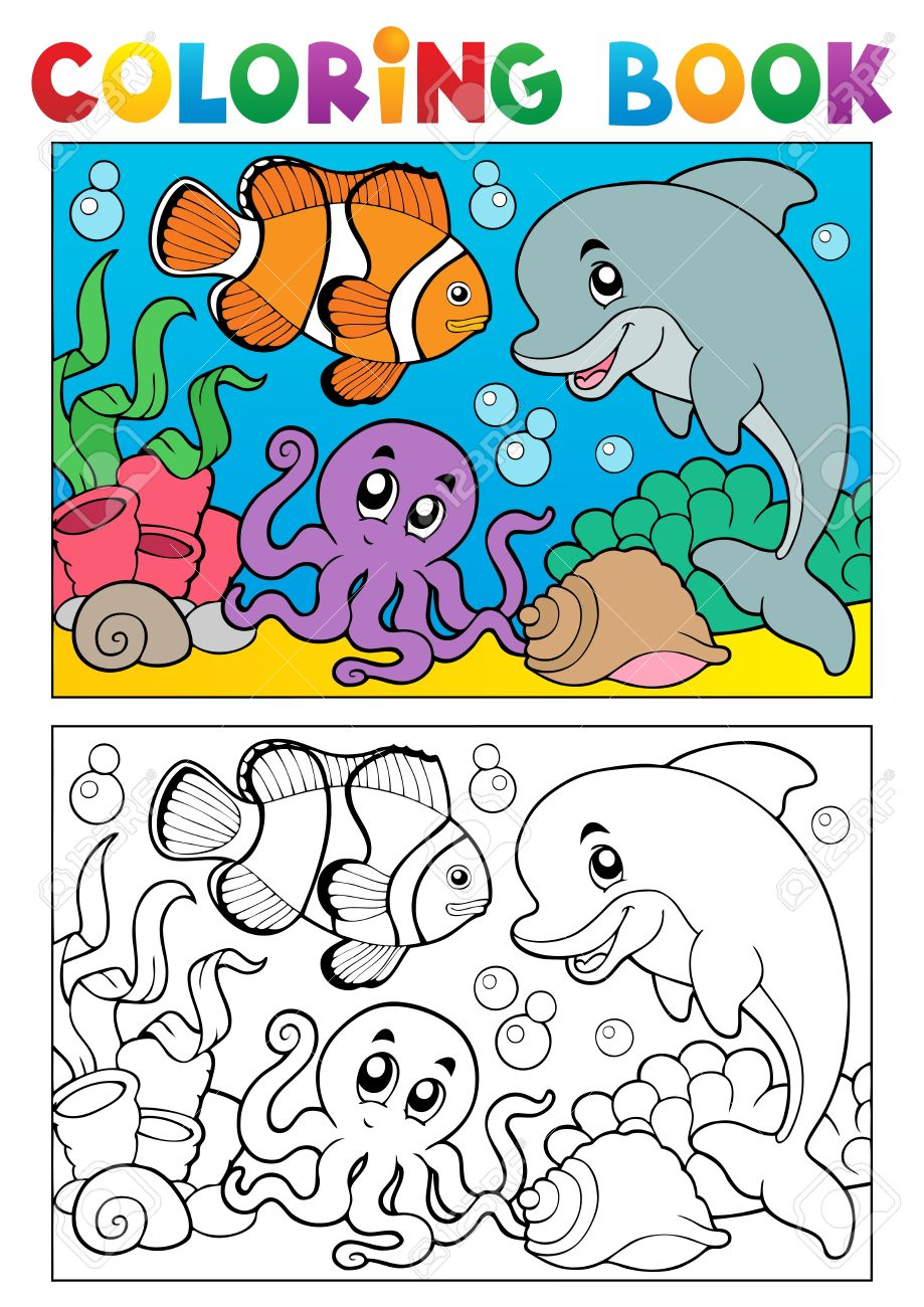 Coloring book with marine animals illustration Stock Vector - 16906688