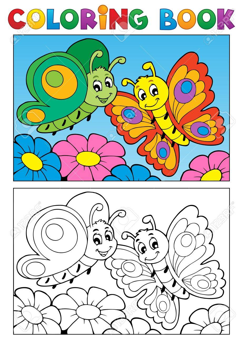 Coloring book butterfly theme 1 - vector illustration Stock Vector - 17368305