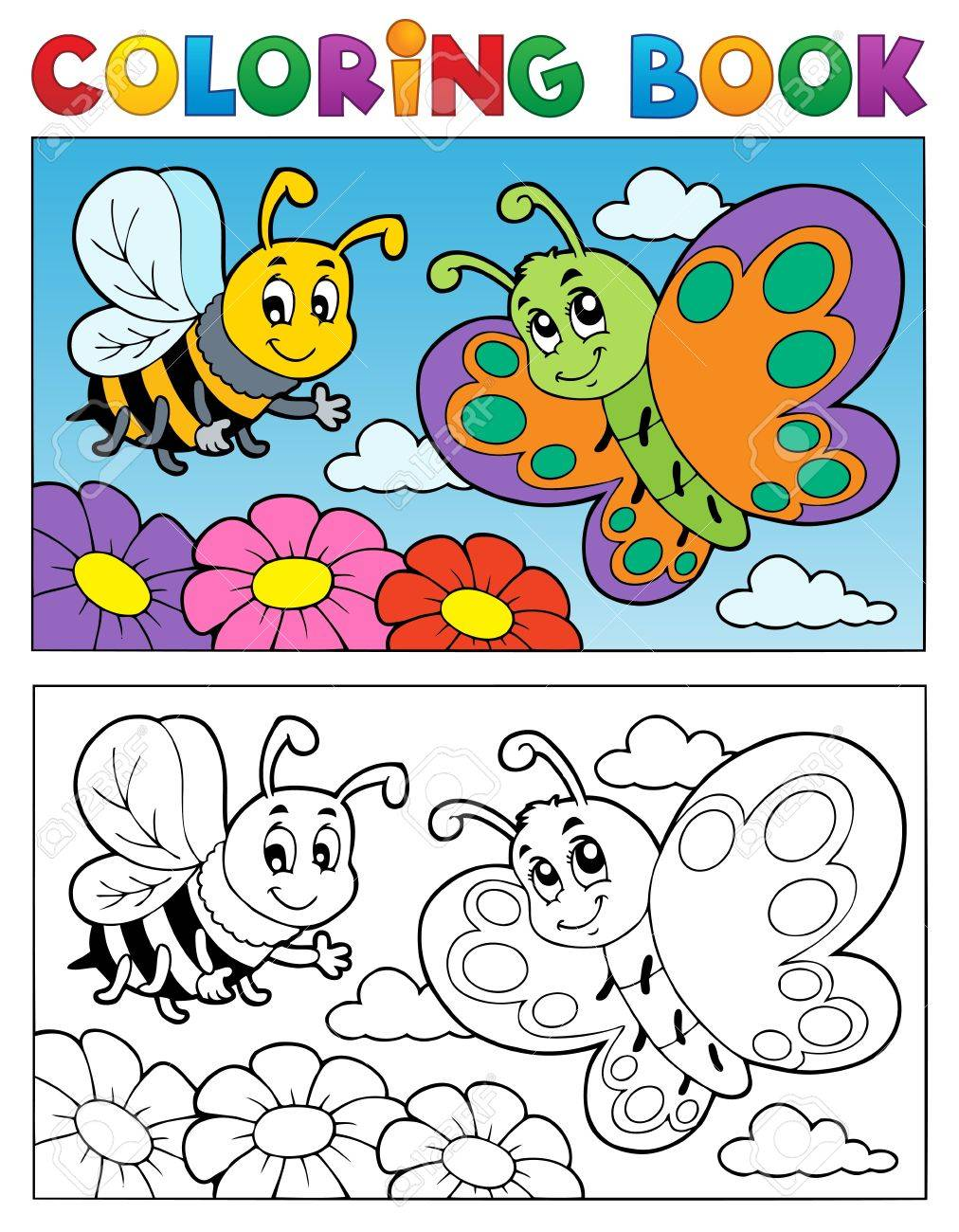 coloring book butterfly theme 2 vector illustration royalty free