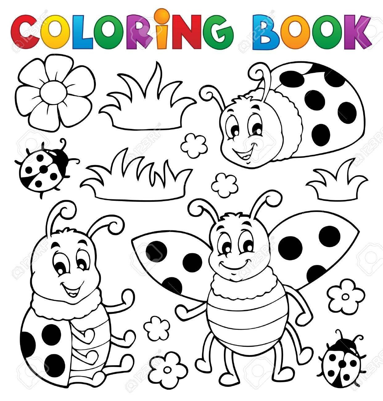 Coloriage Thème Coccinelle Livre 1 Illustration Vectorielle Clip