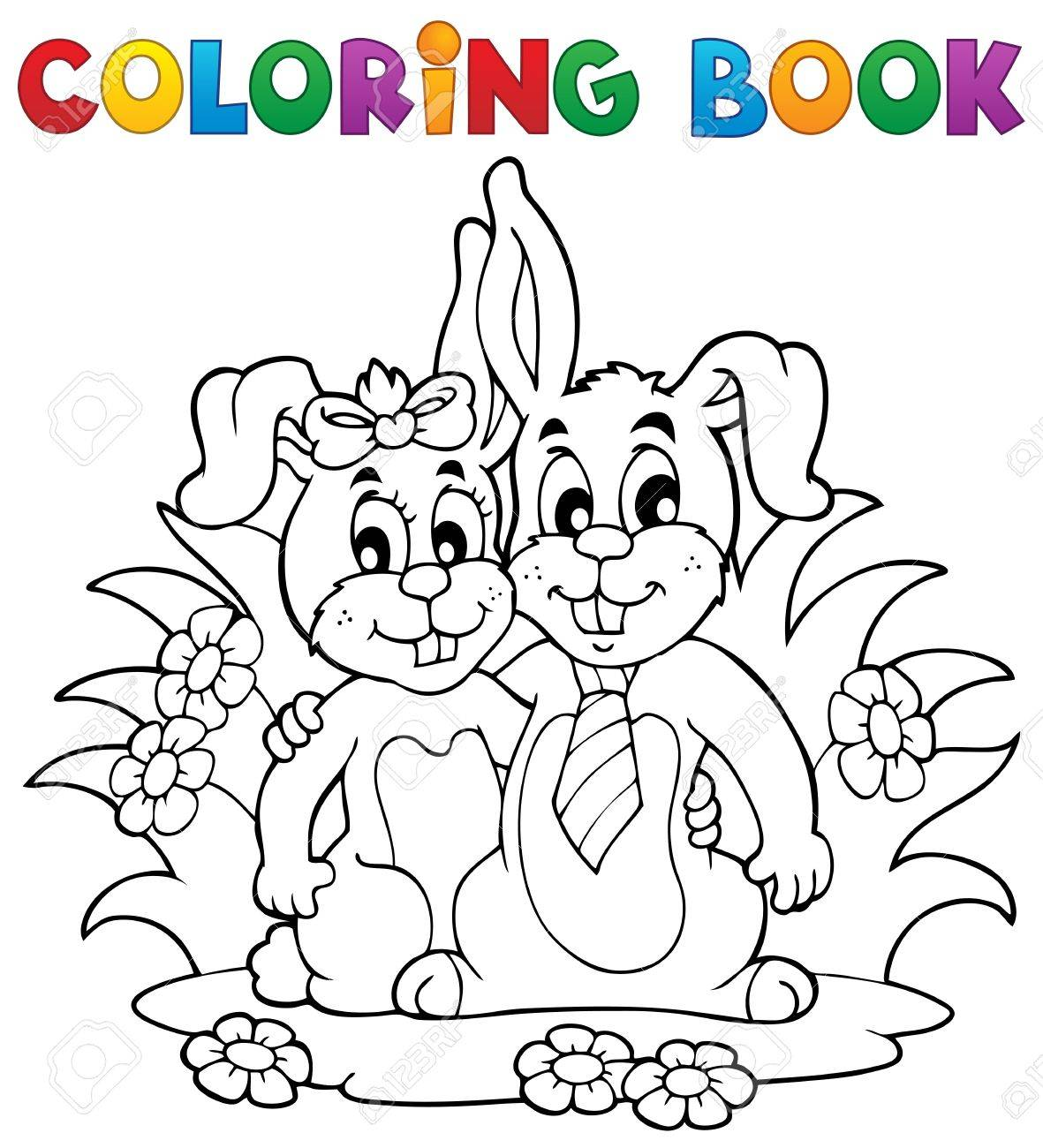 coloring book rabbit pictures : Coloring Book Rabbit Theme 2 Vector Illustration Stock Vector 17368274