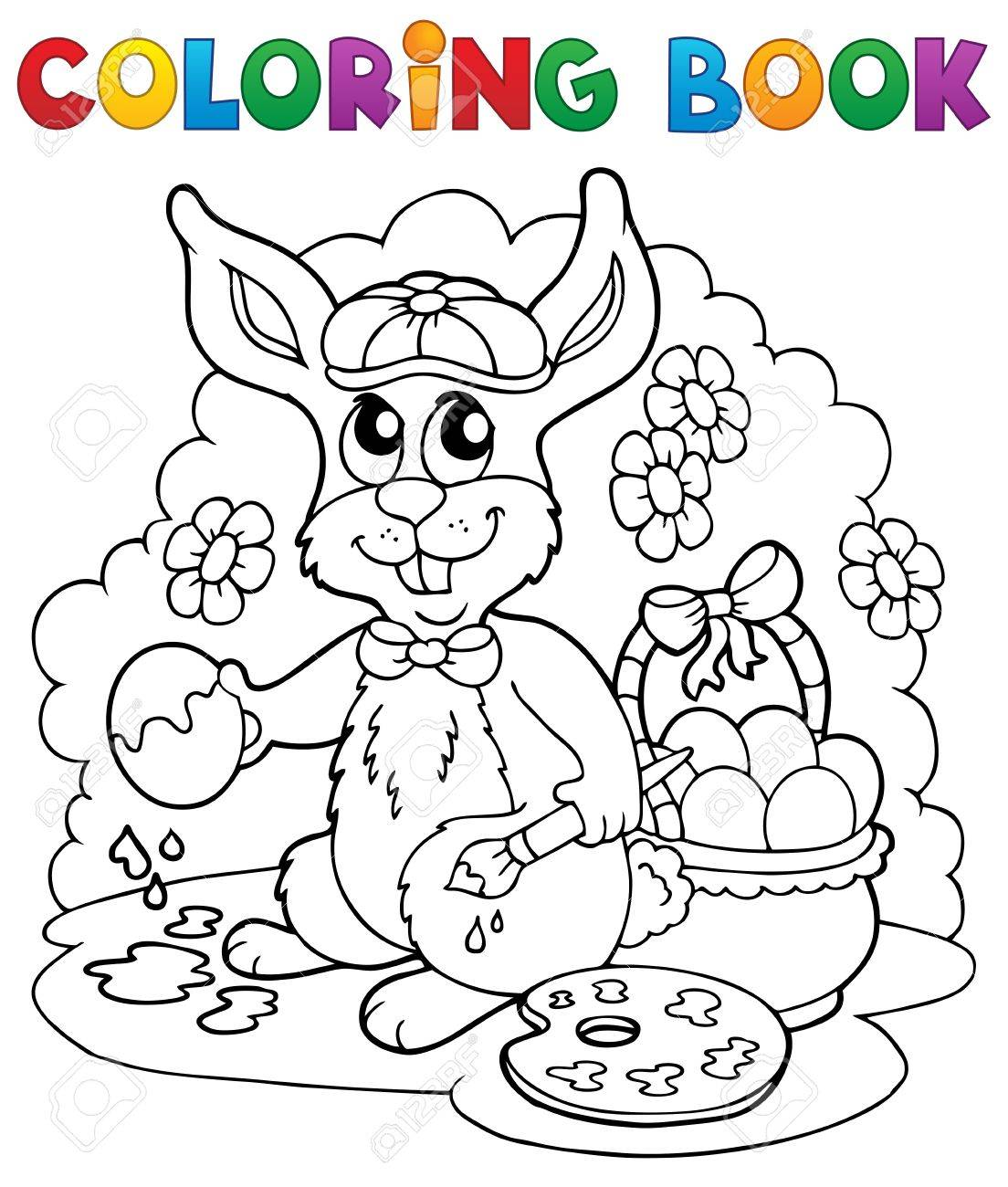 coloring book rabbit pictures : Coloring Book Rabbit Theme 3 Vector Illustration Stock Vector 17368279