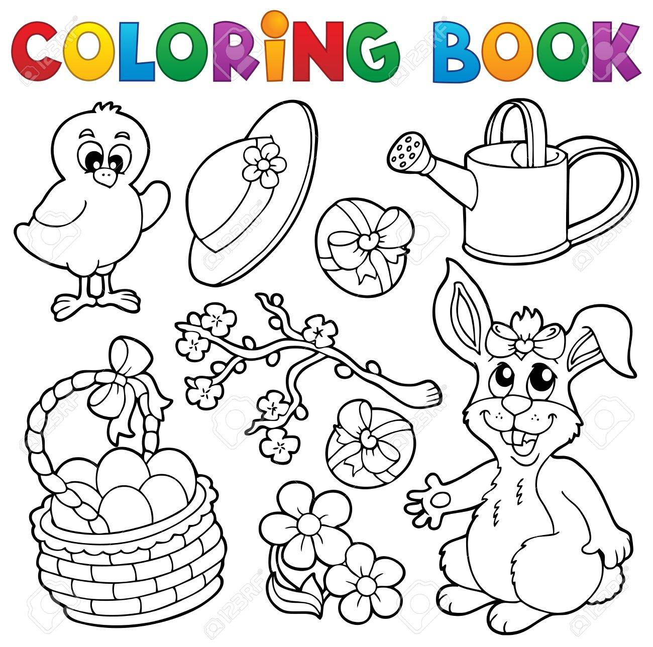 Coloring book with Easter theme 6 - vector illustration Stock Vector - 17368268