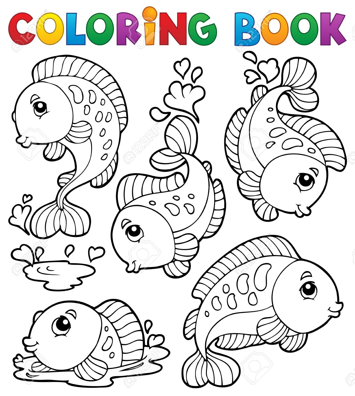 Coloring Book With Fish Theme 1 - Vector Illustration Royalty Free ...