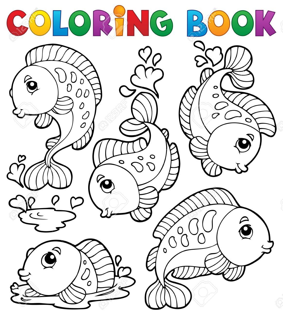 Libro Para Colorear Con El Tema De Los Peces 1 - Ilustración ...