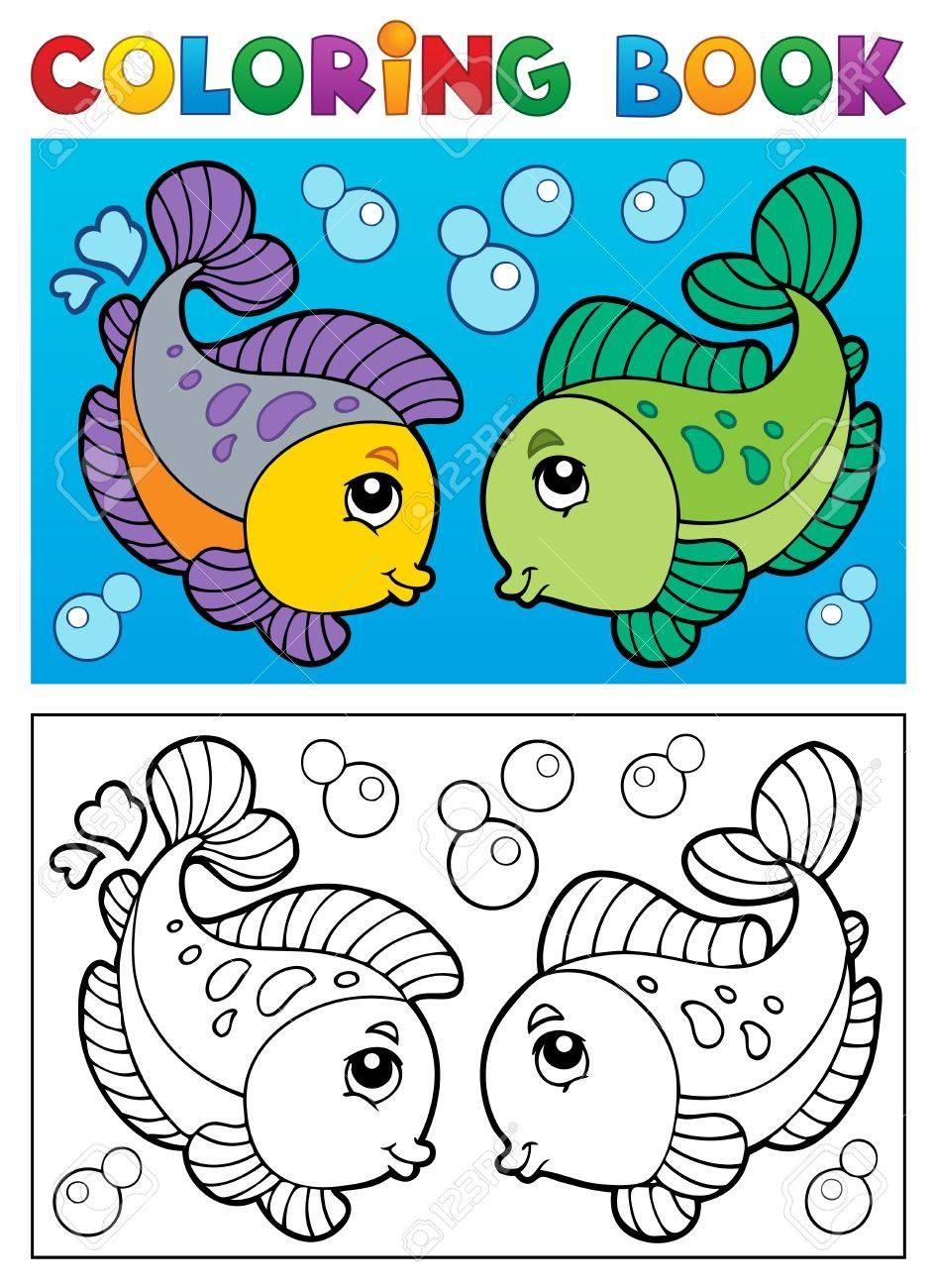 Libro Para Colorear Con El Tema De Los Peces 2 - Ilustración ...