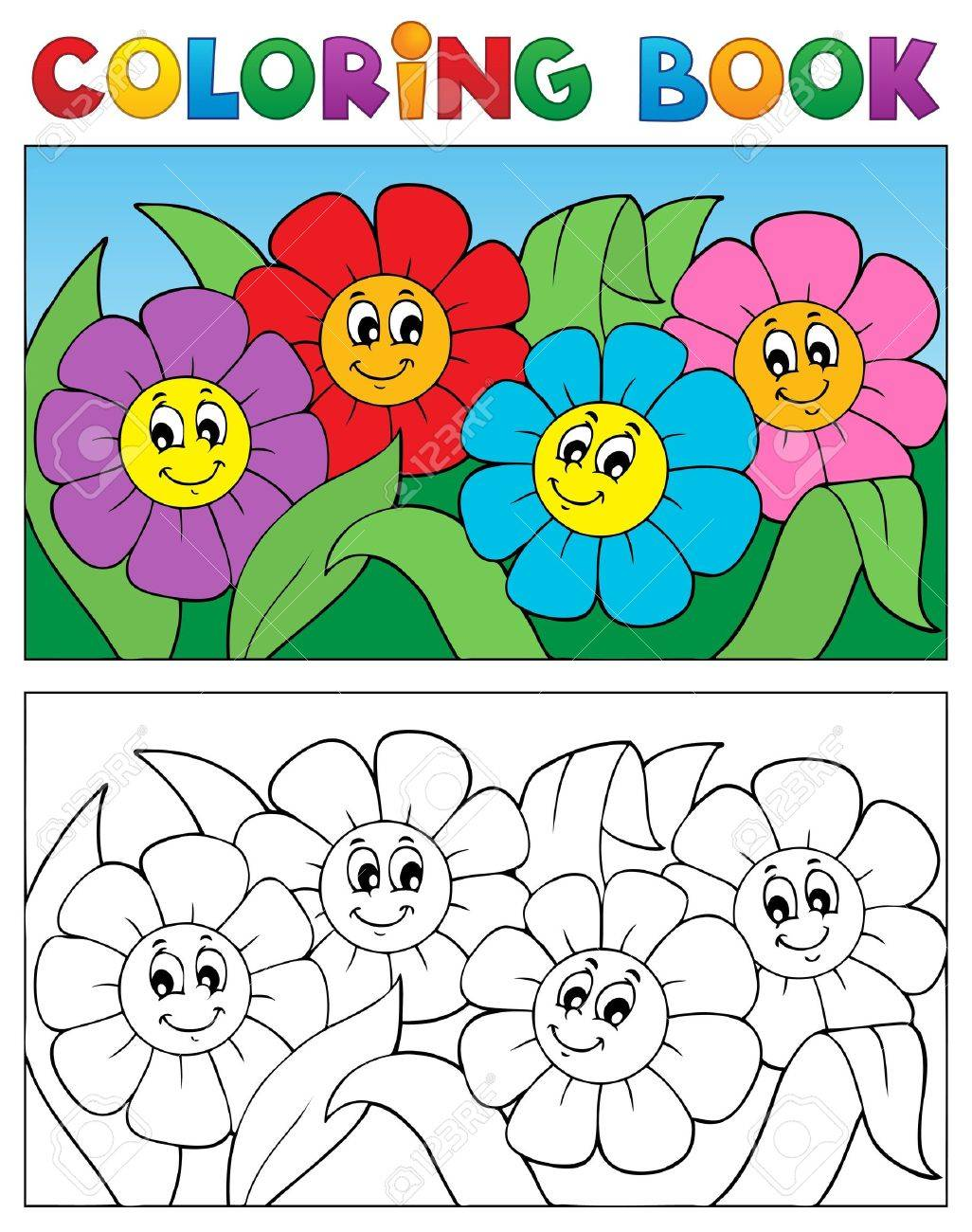 Coloring book with flower theme 1 - vector illustration Stock Vector - 17368326