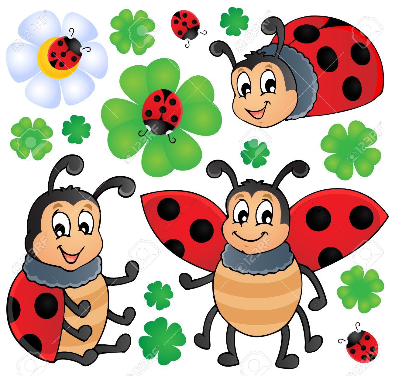 Image with ladybug theme 1 - vector illustration - 17368270