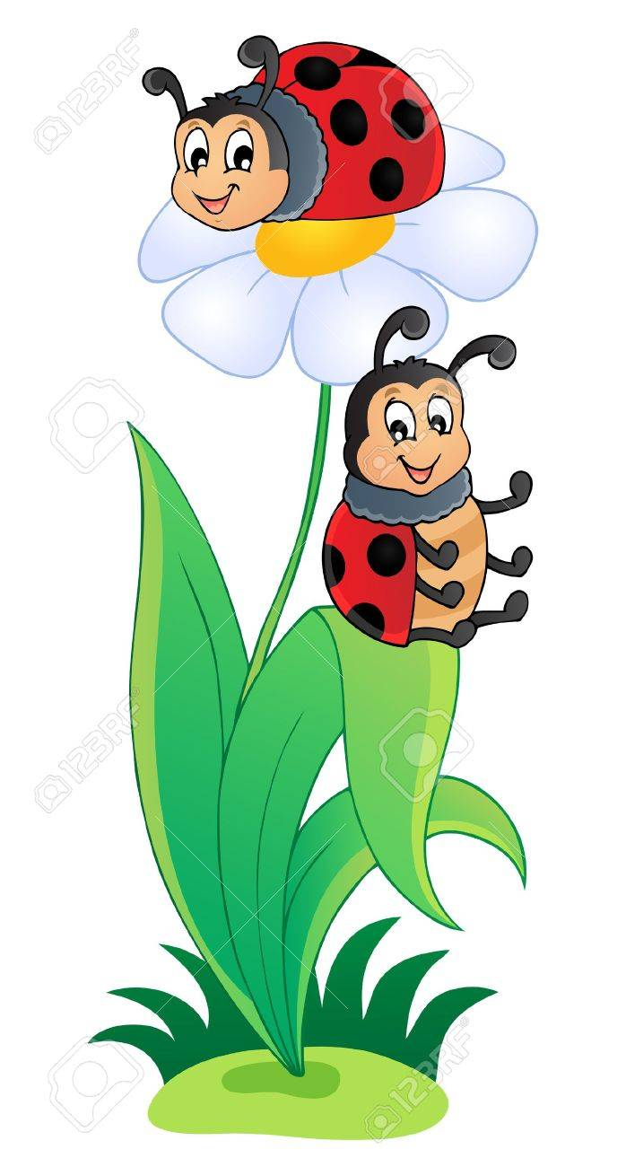 Image with ladybug theme 3 - vector illustration Stock Vector - 17368307