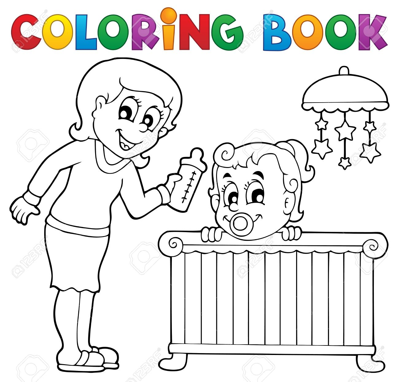 Coloring Book Baby Theme Image 1 Stock Vector