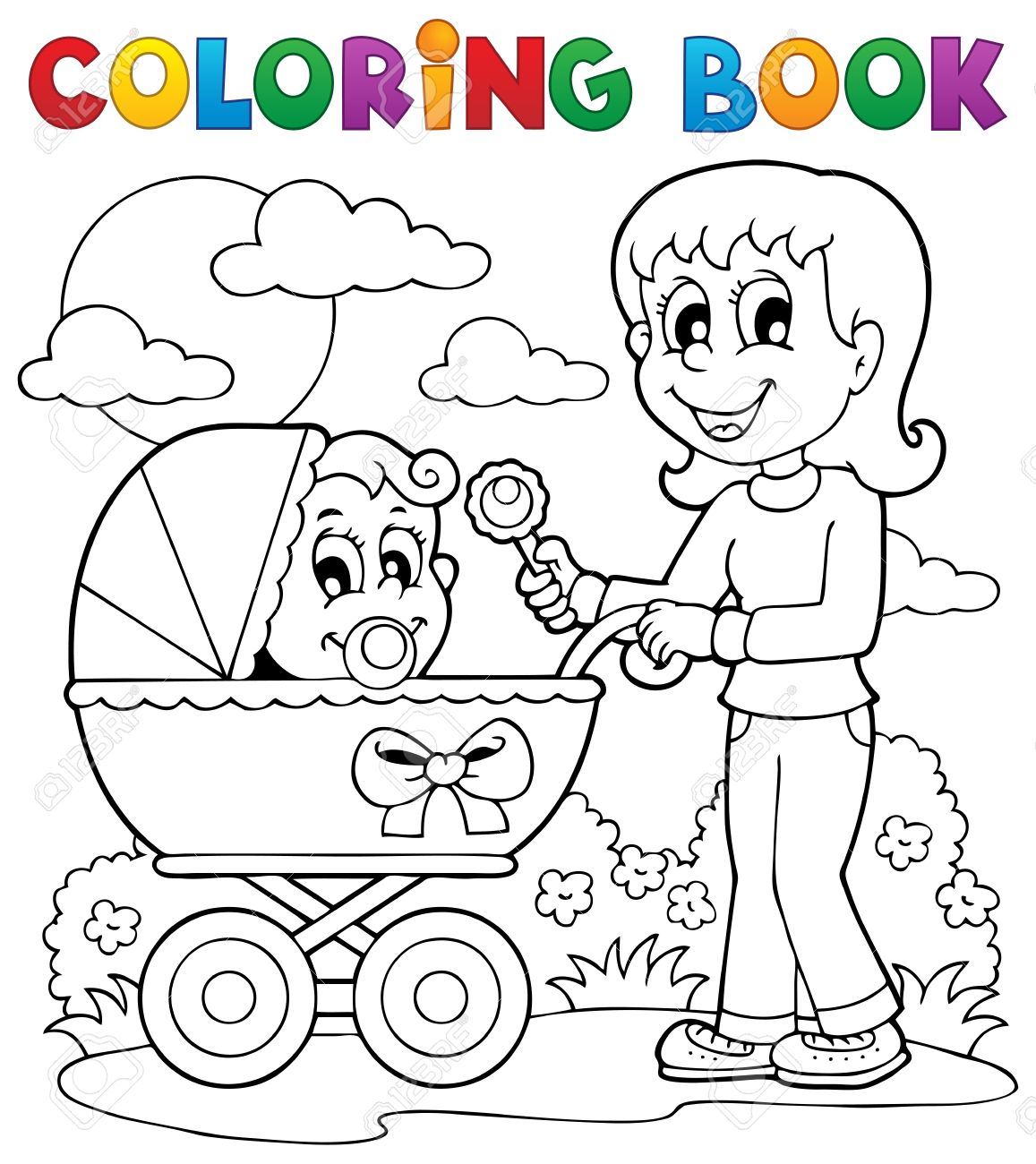 Coloring Book Baby Theme Image 2 Stock Vector