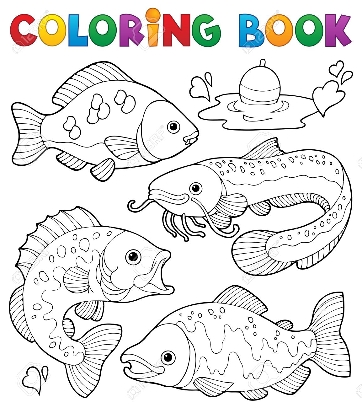 Freshwater fish clipart - Coloring Book Freshwater Fishes 1 Stock Vector 17794428