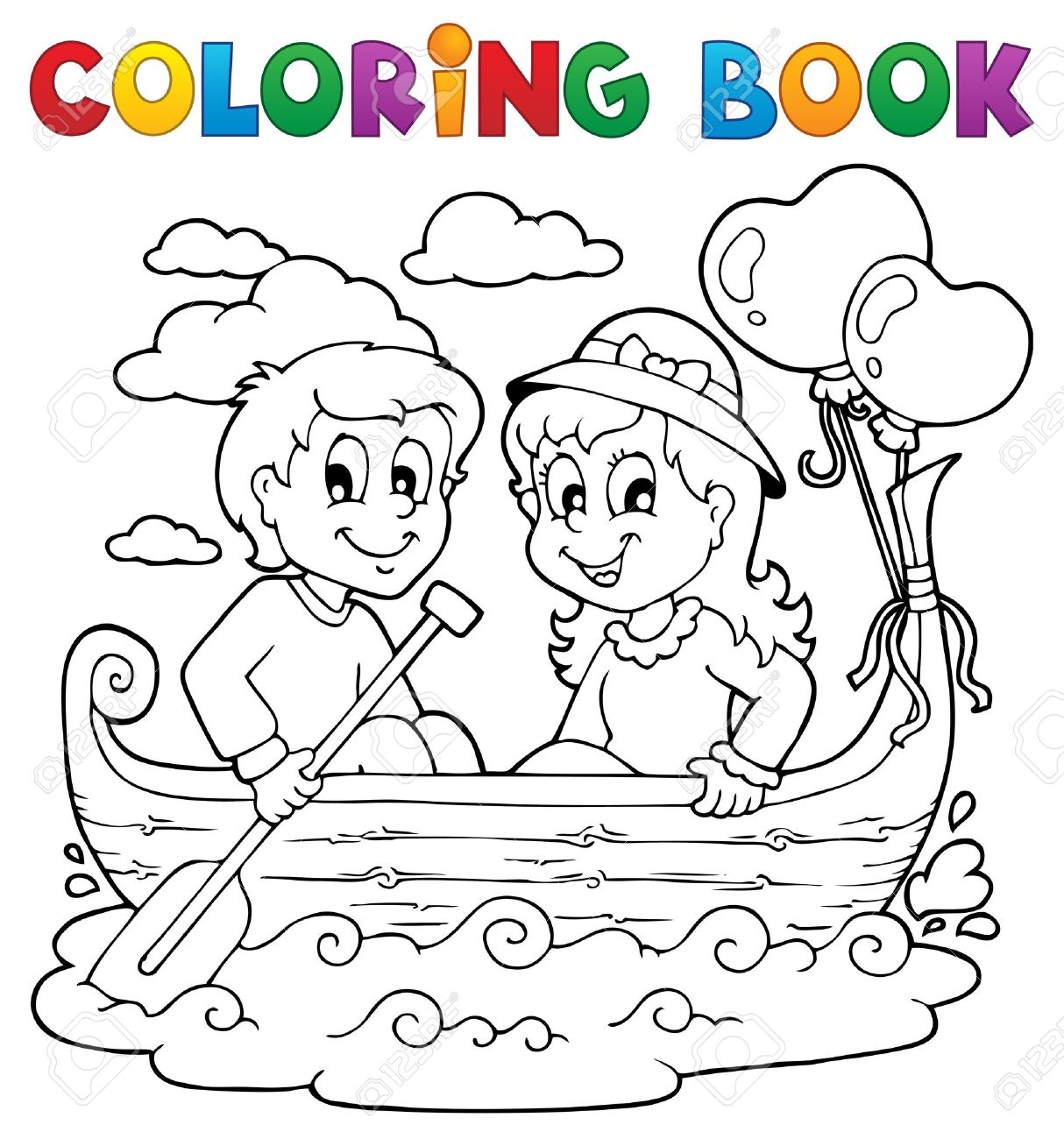 Coloring Book Love Theme Image 1 Stock Vector