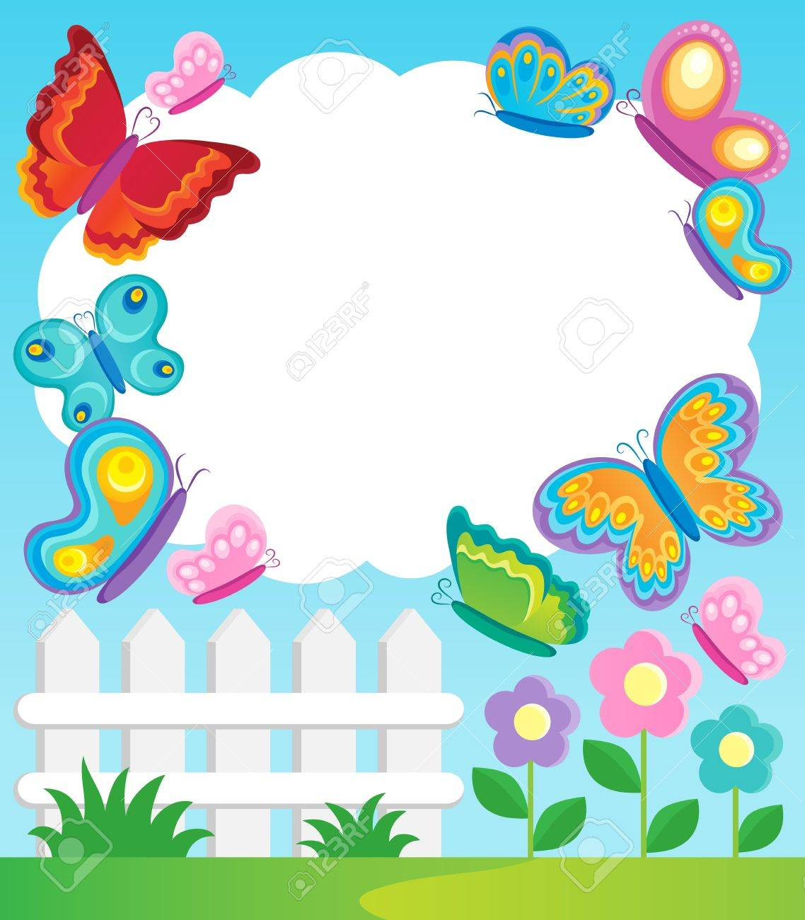 cartoon butterfly frames photo butterfly theme frame 1 vector illustration