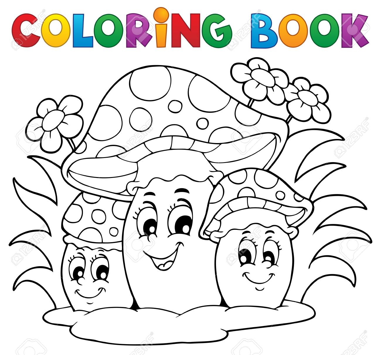 Coloring Pages Vector - Coloring book mushroom theme 2 vector illustration stock vector 18088563