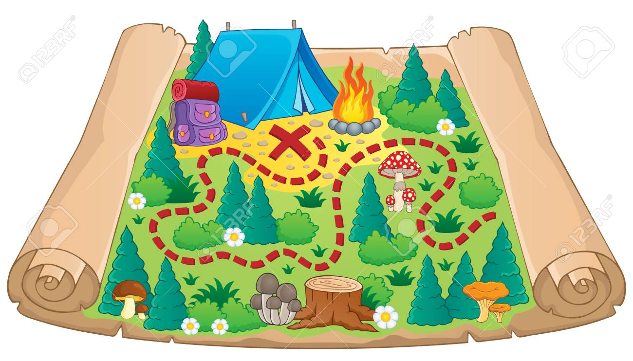 Camping Theme Map Image 2 Vector Illustration Royalty Free