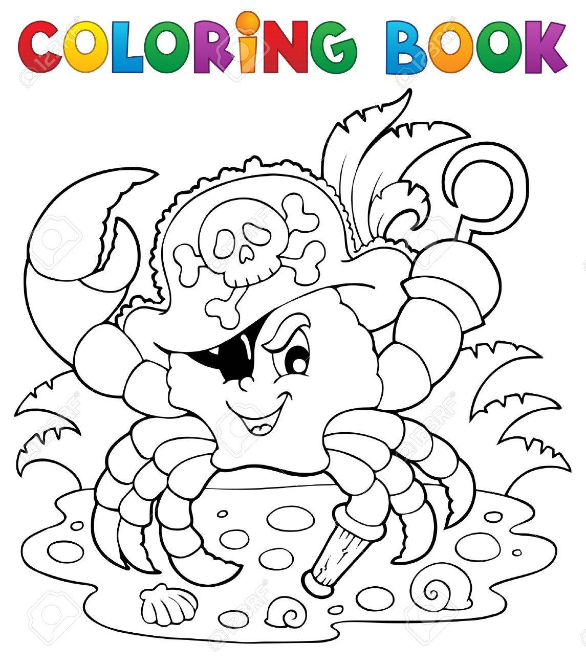 Coloring book with pirate crab - vector illustration Stock Vector - 18559618