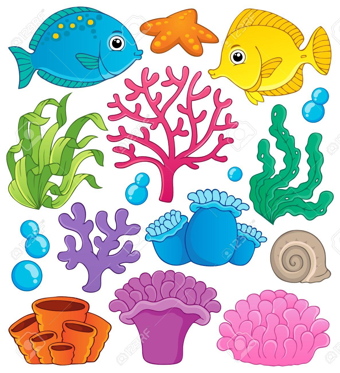 Arrecife De Coral Tema De La Colección 1 - Ilustración Vectorial ...