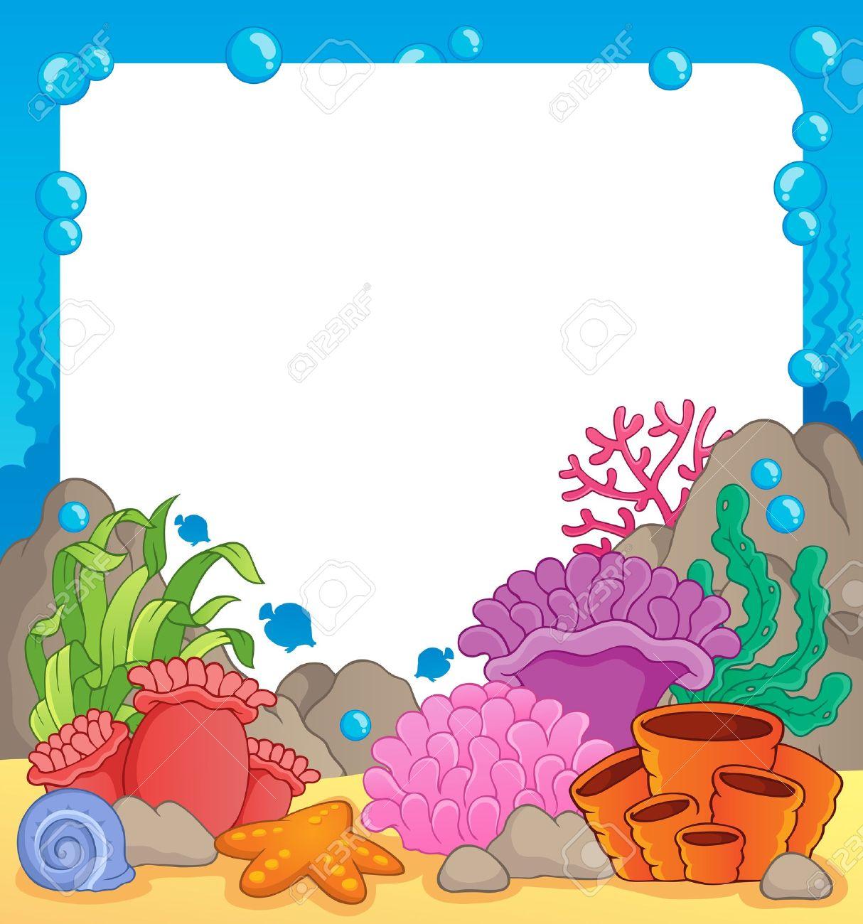 Arrecife De Coral Tema Frame 1 - Ilustración Vectorial Ilustraciones ...